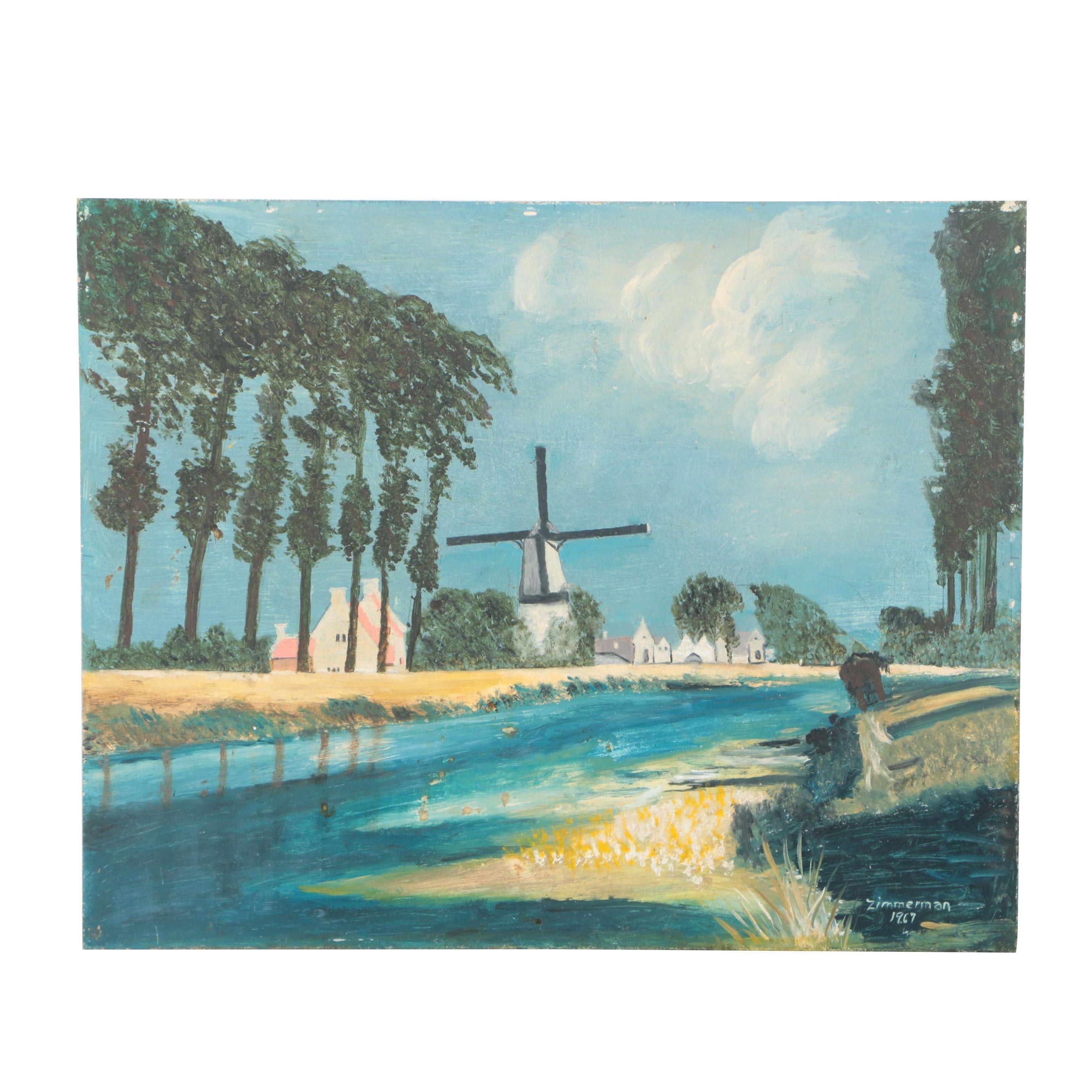 1967 Zimmerman Oil Painting of a Dutch Landscape