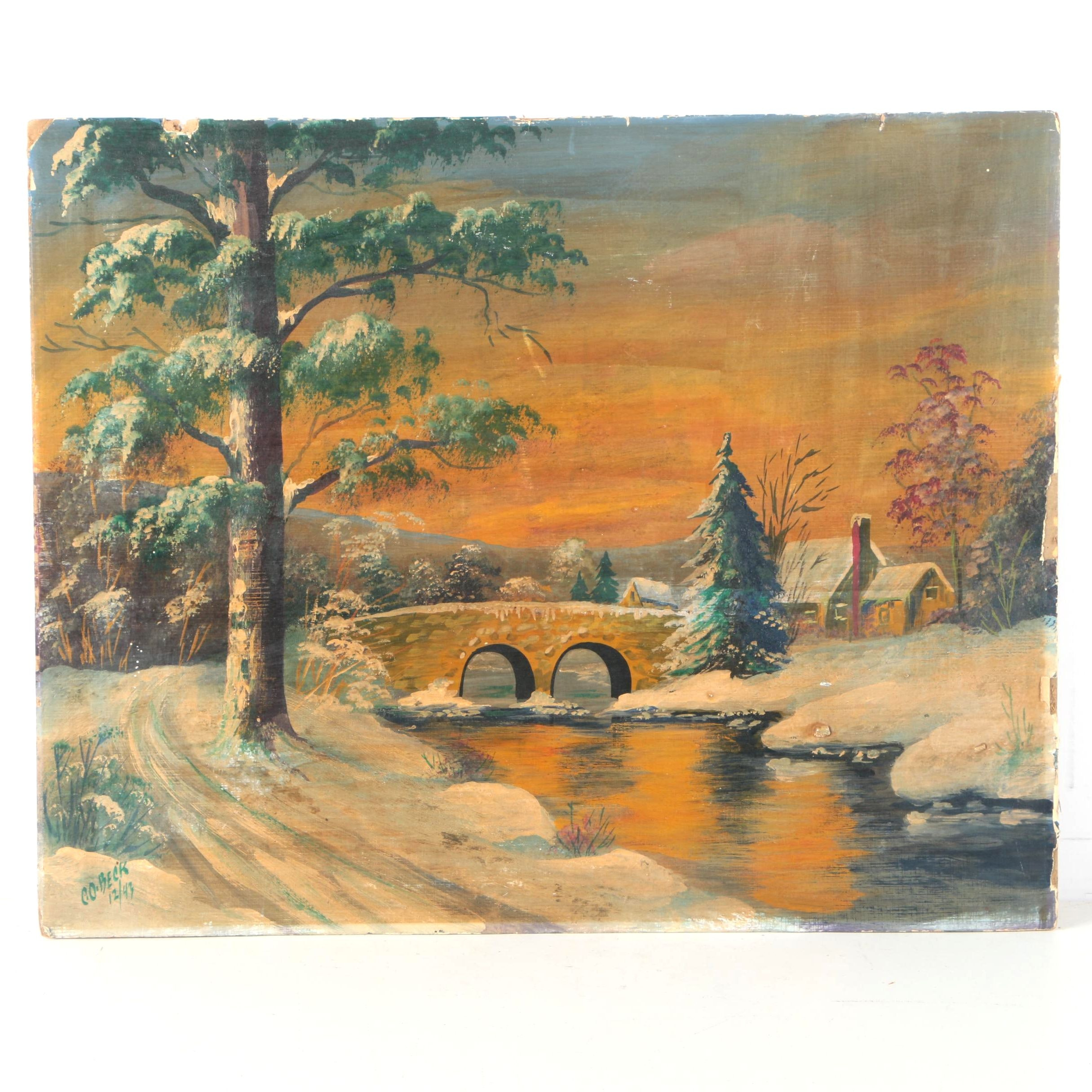 C.O. Beck Oil on Paper Laid on Cardboard Painting of Pastoral Winter Landscape