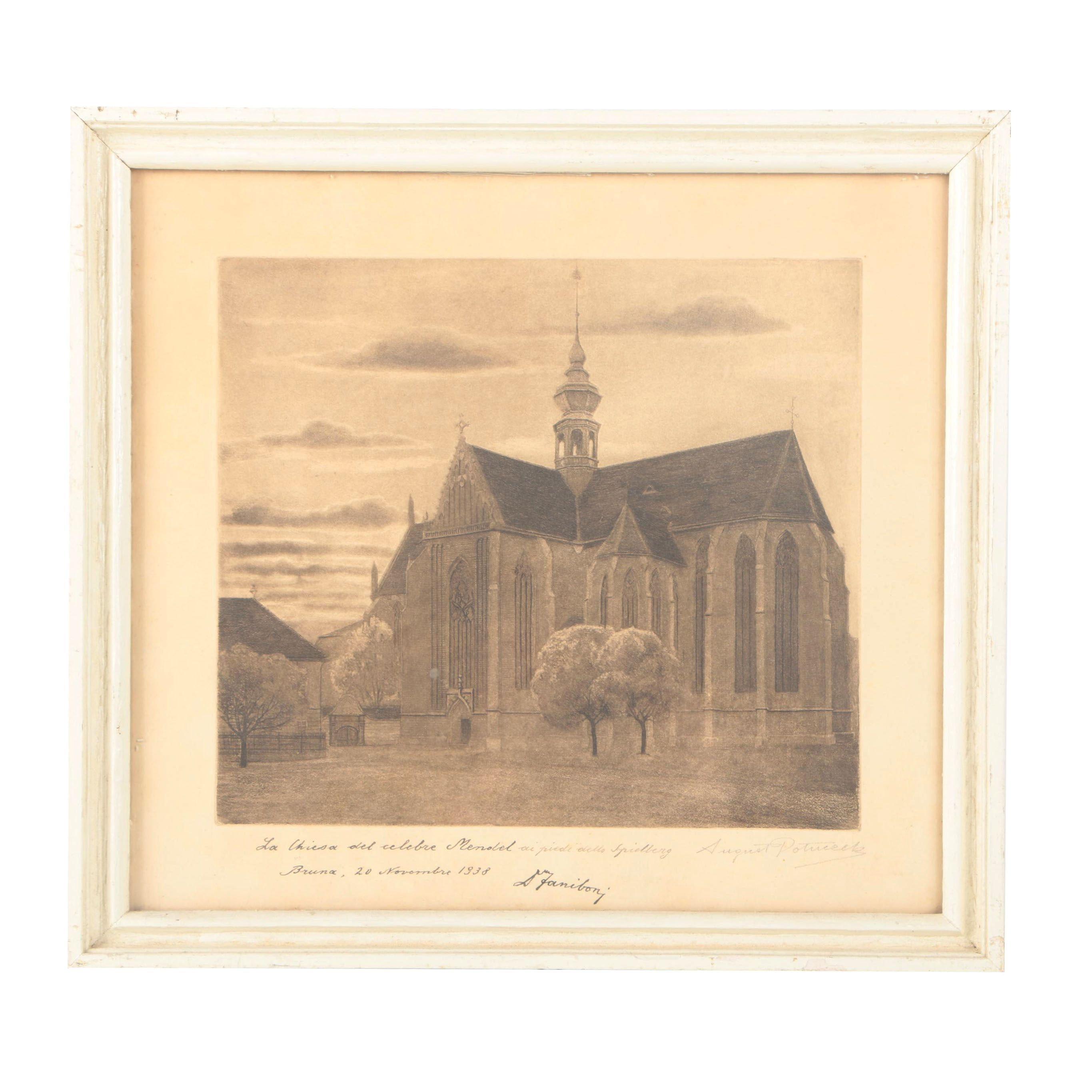"August Potuceck 1938 Etching With Aquatint on Paper ""La Chiesa del Celebre Menobel"""