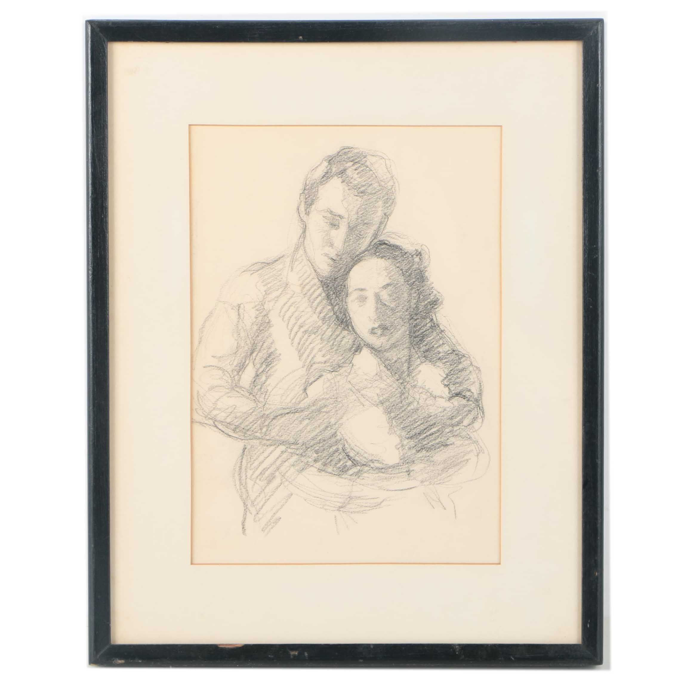 Charcoal on Paper Portrait of a Man and Woman