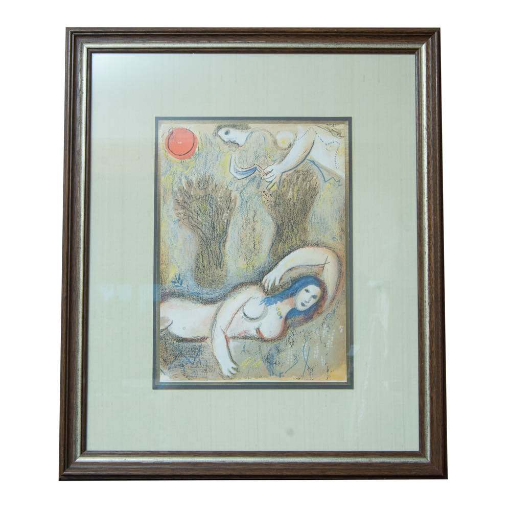 "Lithograph After Marc Chagall ""Boaz Wakes Up and See Ruth at His Feet"""
