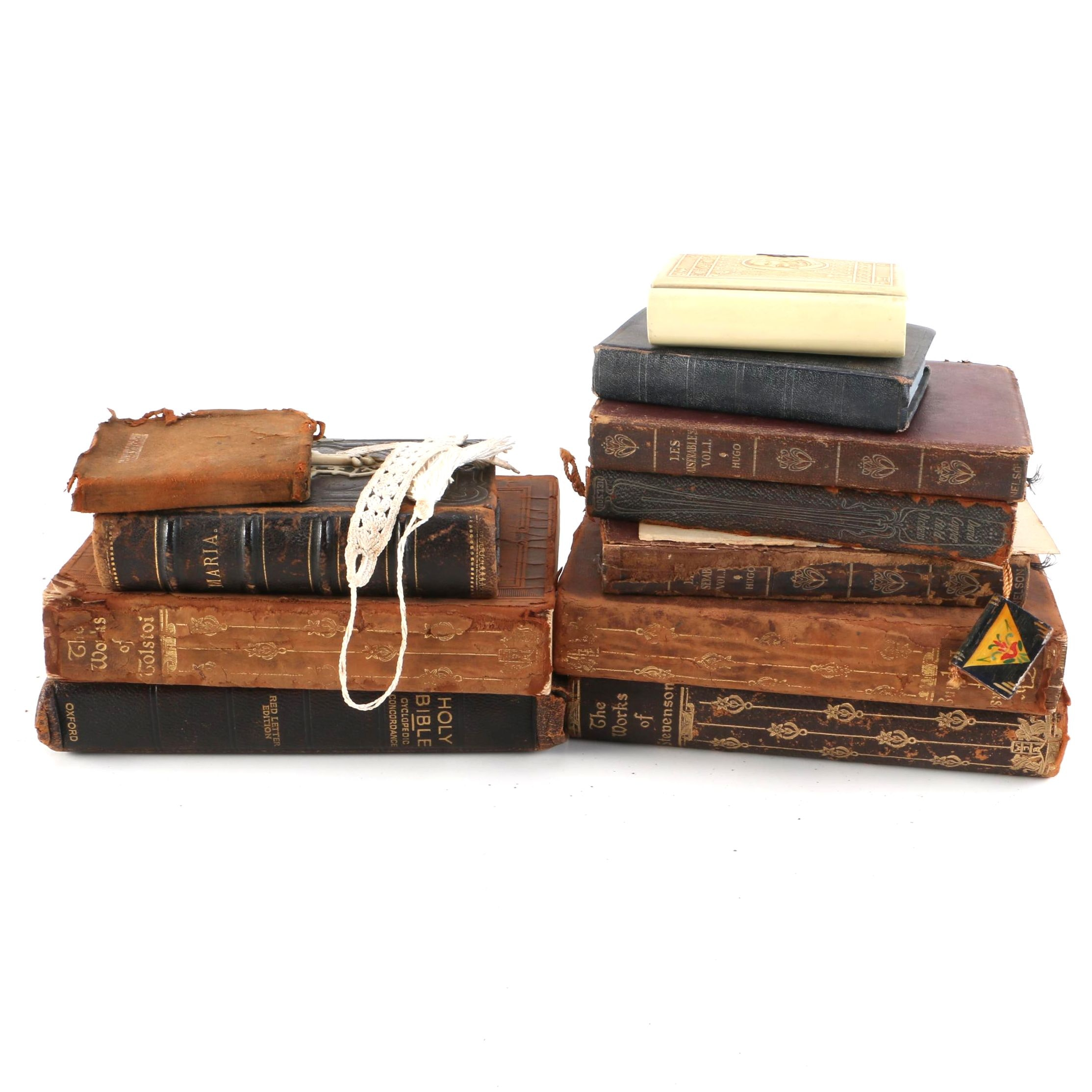 """Antique Books Including Christian Prayer Books and """"Les Miserables"""""""
