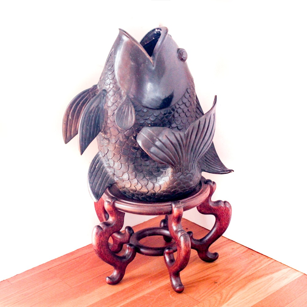 Bronze Sculpture of Coy Fish