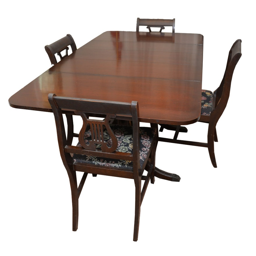 vintage classical style dining table with lyre back chairs ebth