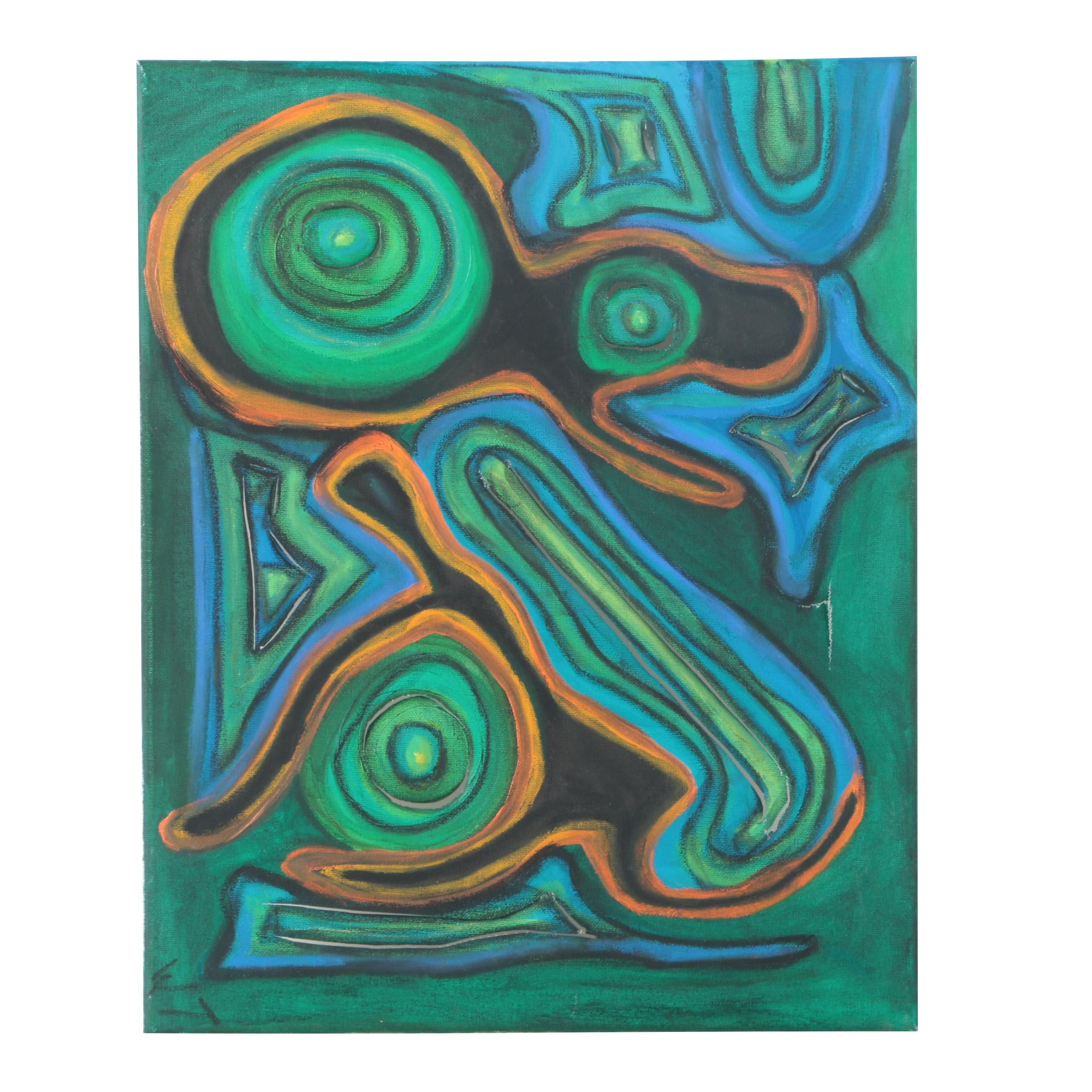 Acrylic Painting on Canvas of Primitive Composition