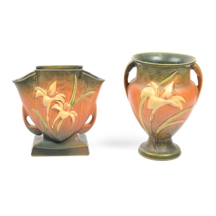 Roseville Zephyr Lily Vases Ebth