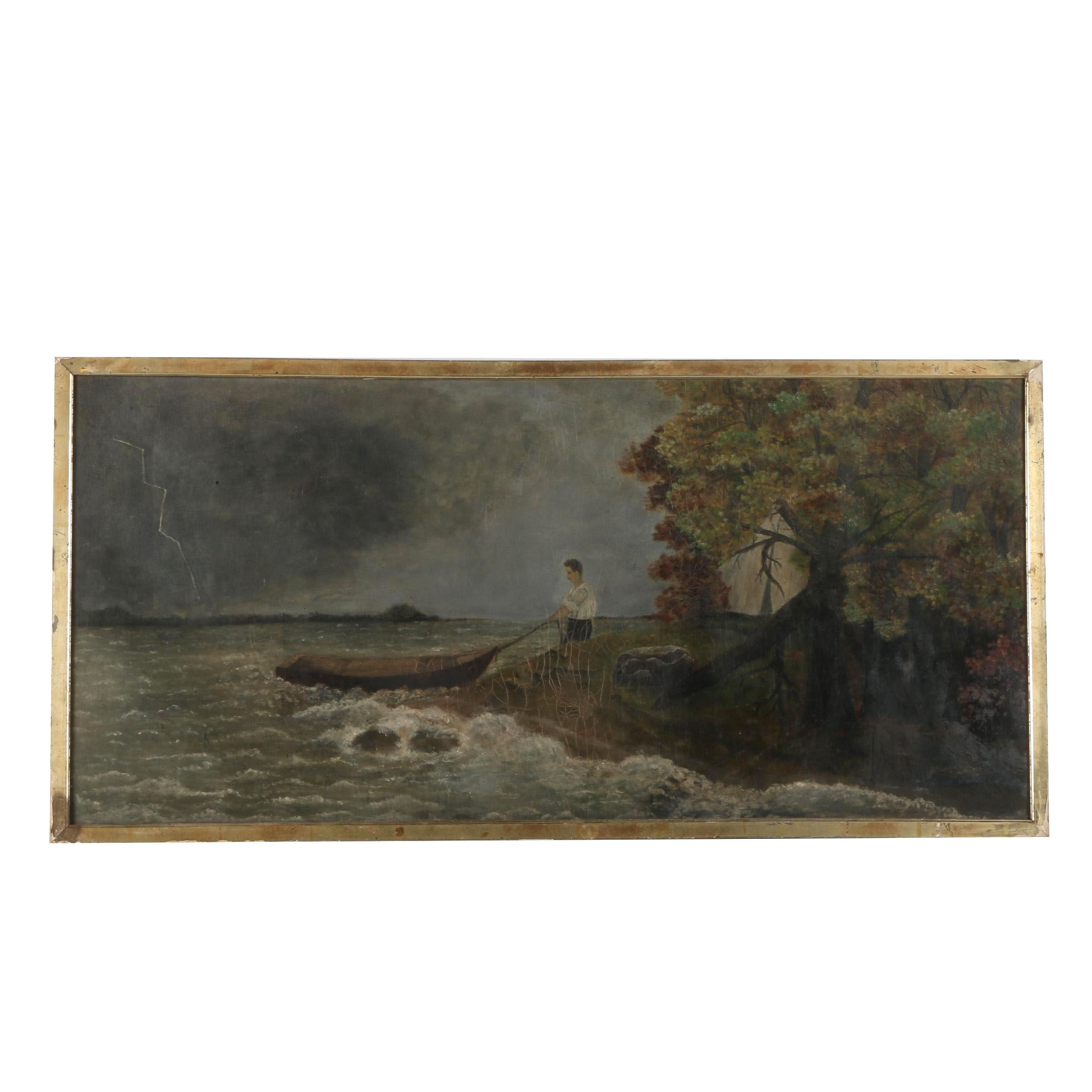 M. Odler Oil on Canvas of Man Pulling in Rowboat