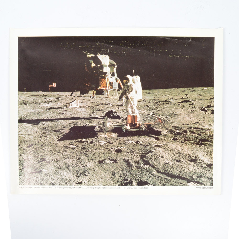 """Vintage Offset Lithograph Print """"Man on the Moon"""""""