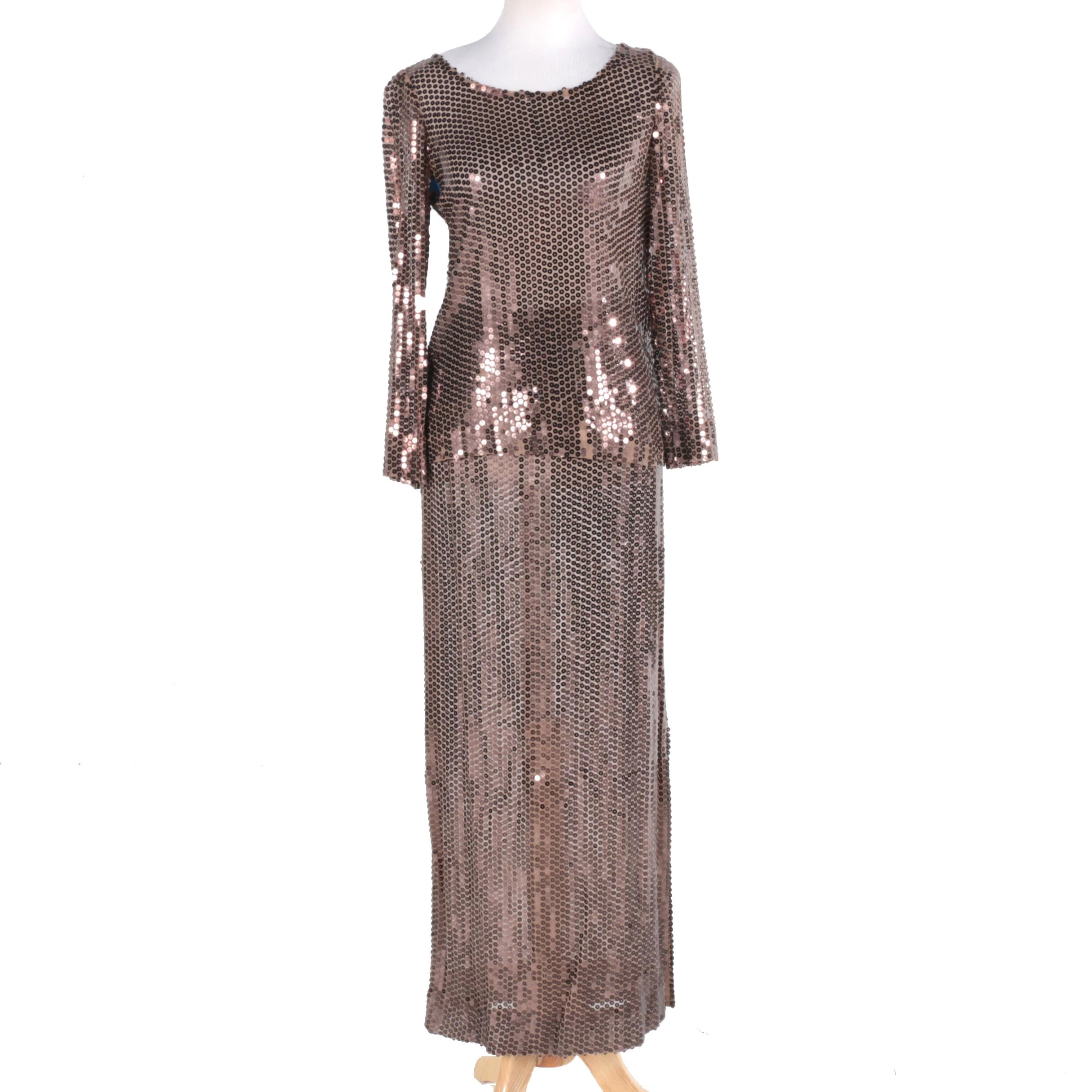 Vintage Sequin Blouse and Skirt Evening Set