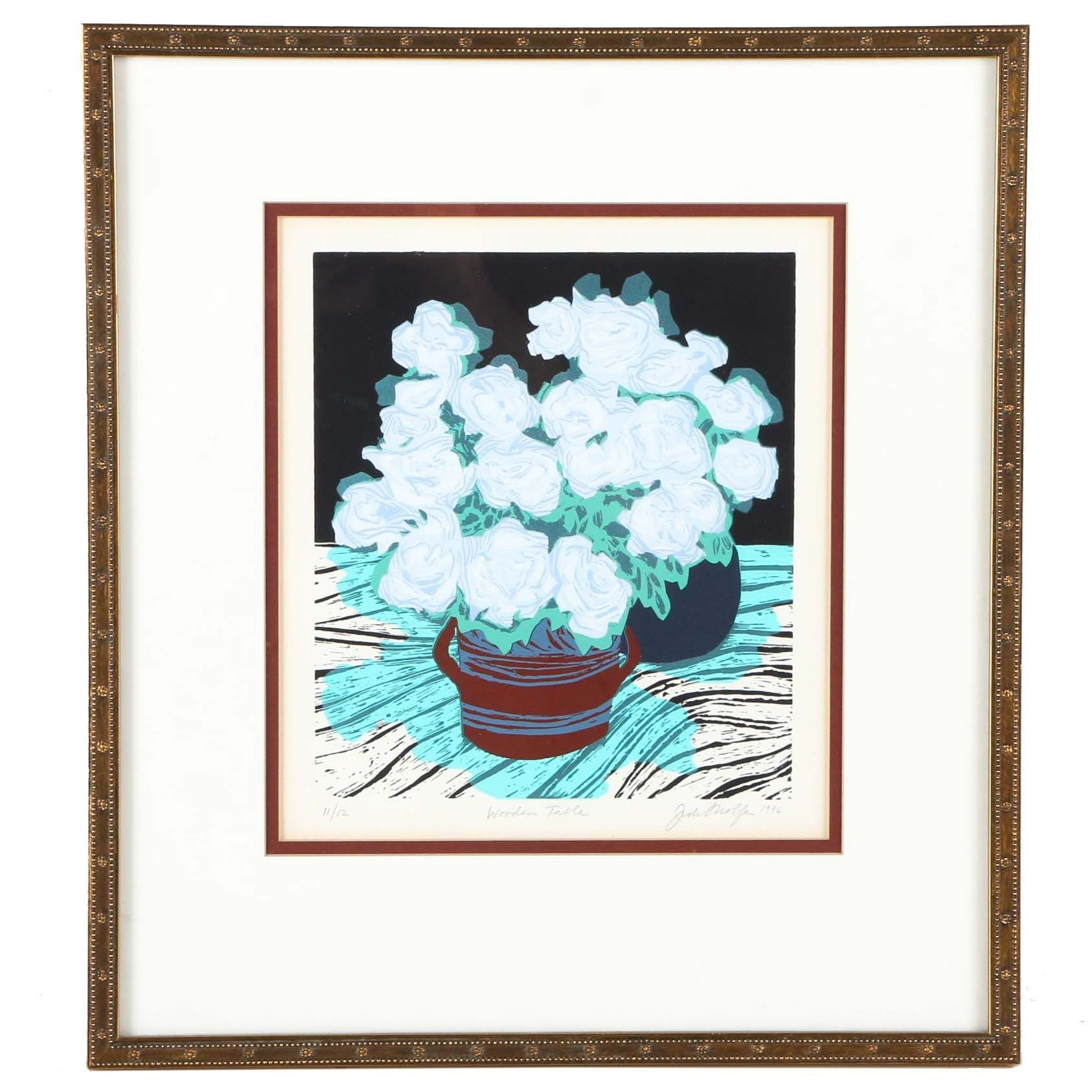 """Late 20th-Century Limited Edition Serigraph """"Wooden Table"""""""