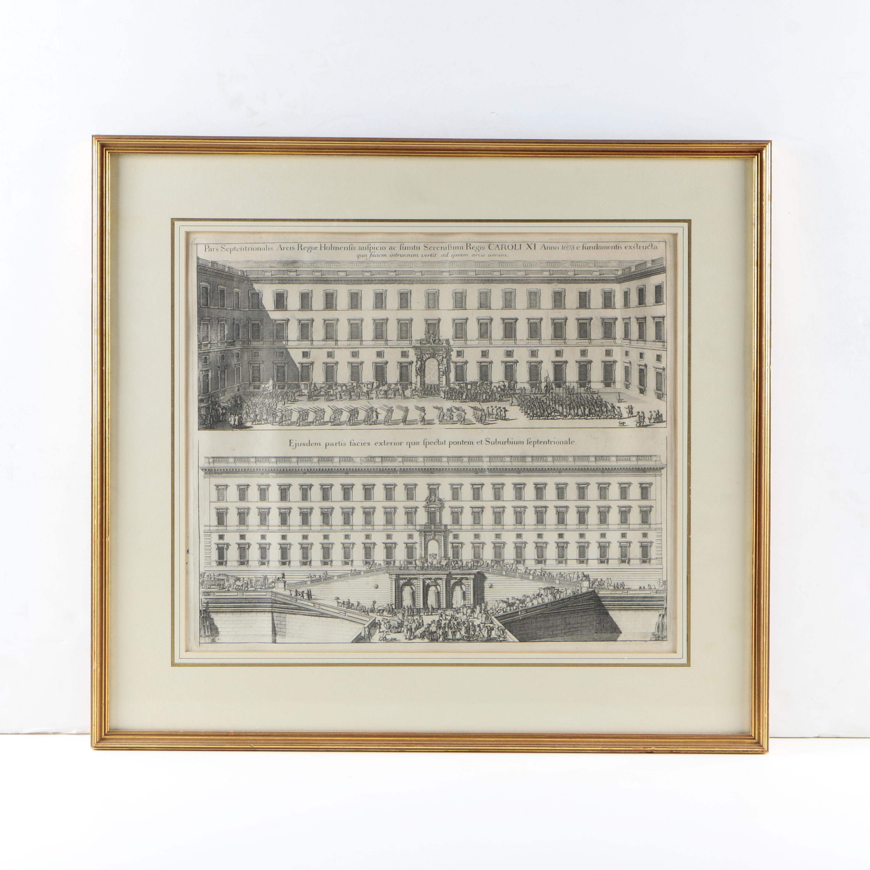 Framed Swedish Architecture Engraving on Paper