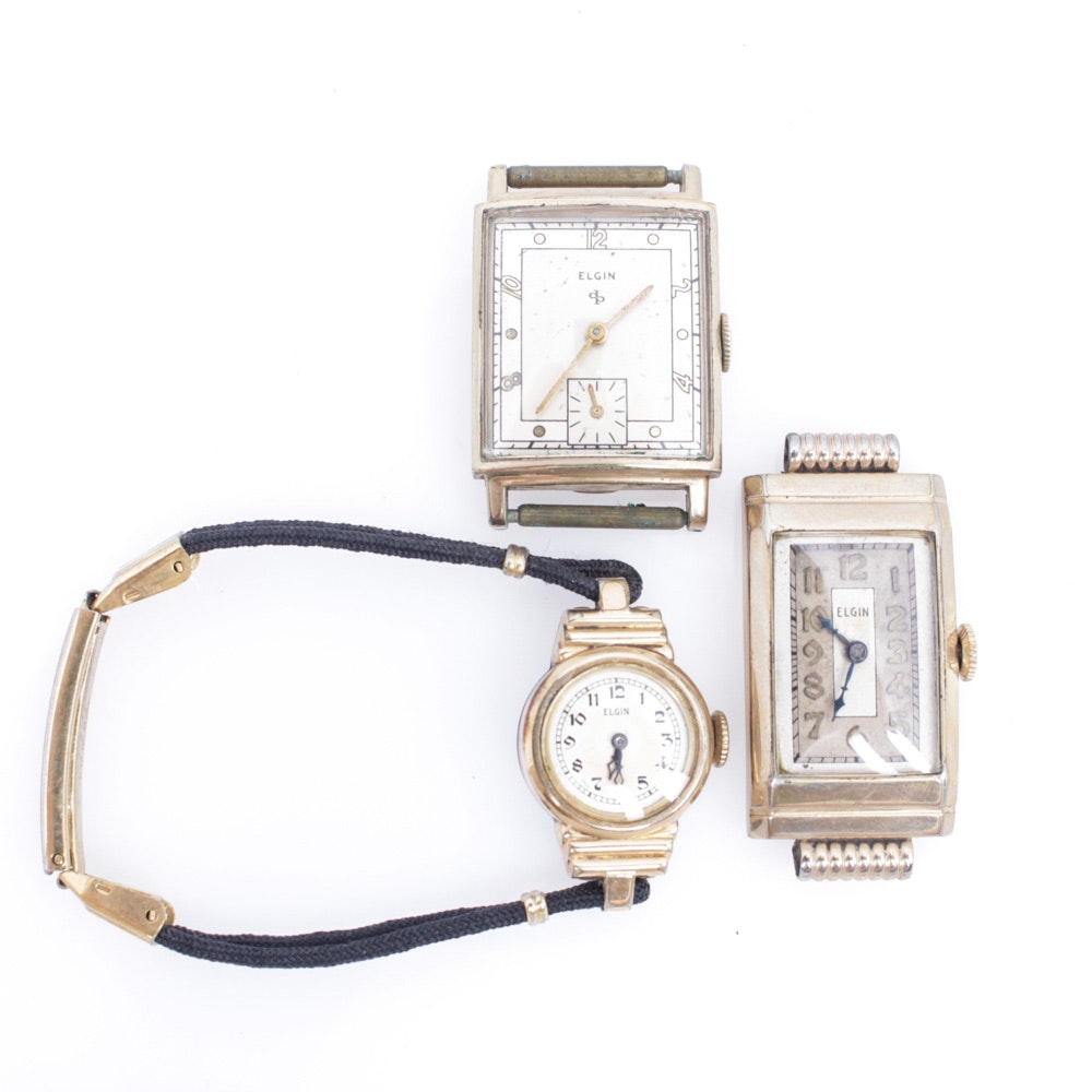 Vintage Elgin Wristwatch and Watch Faces