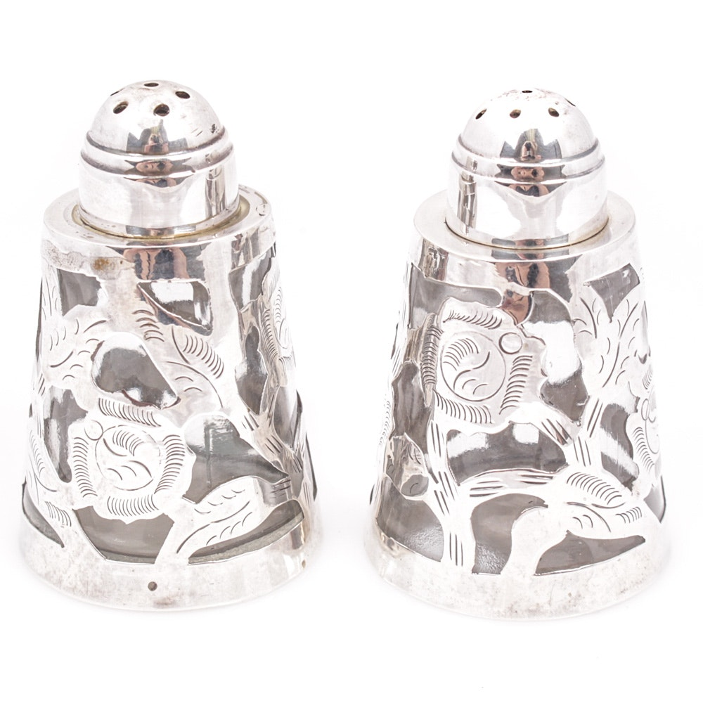 Pair of Sterling Overlay Salt and Pepper Shakers