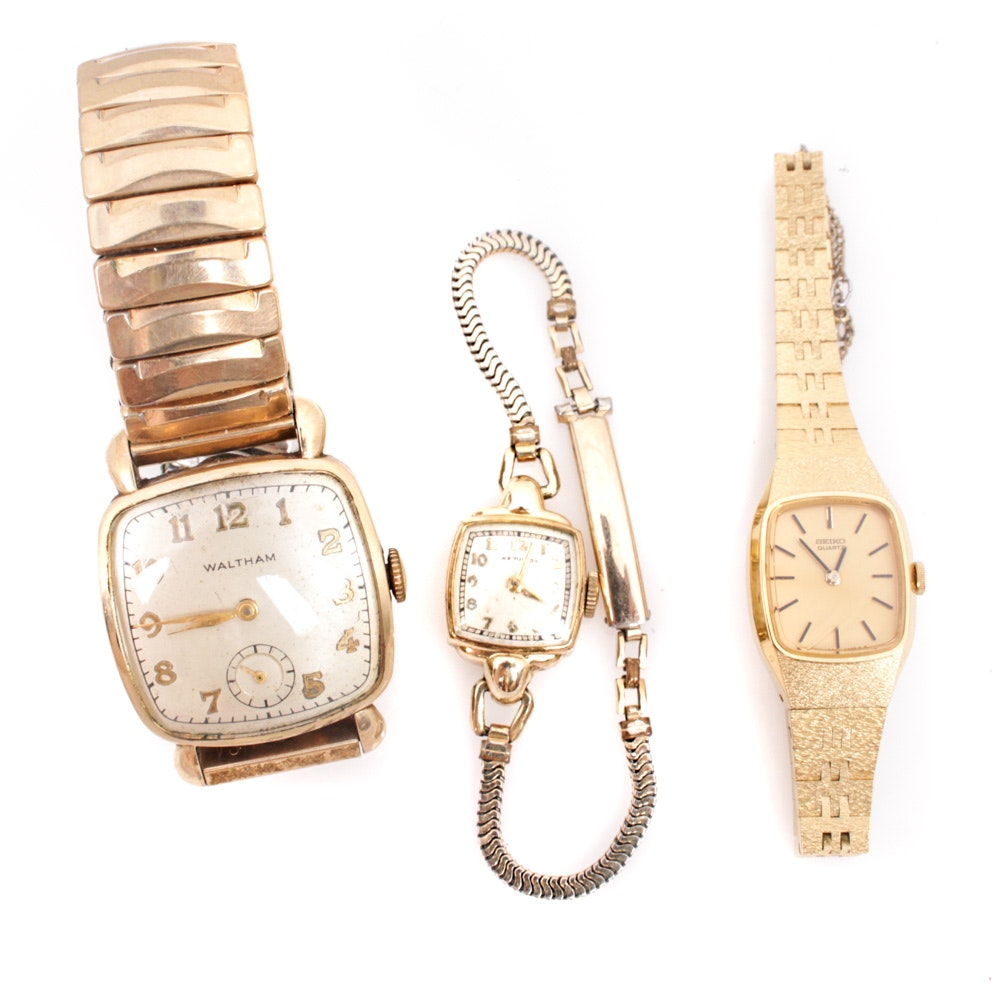 Vintage Wristwatches Featuring Gold-Filled Waltham and Hamilton Watches