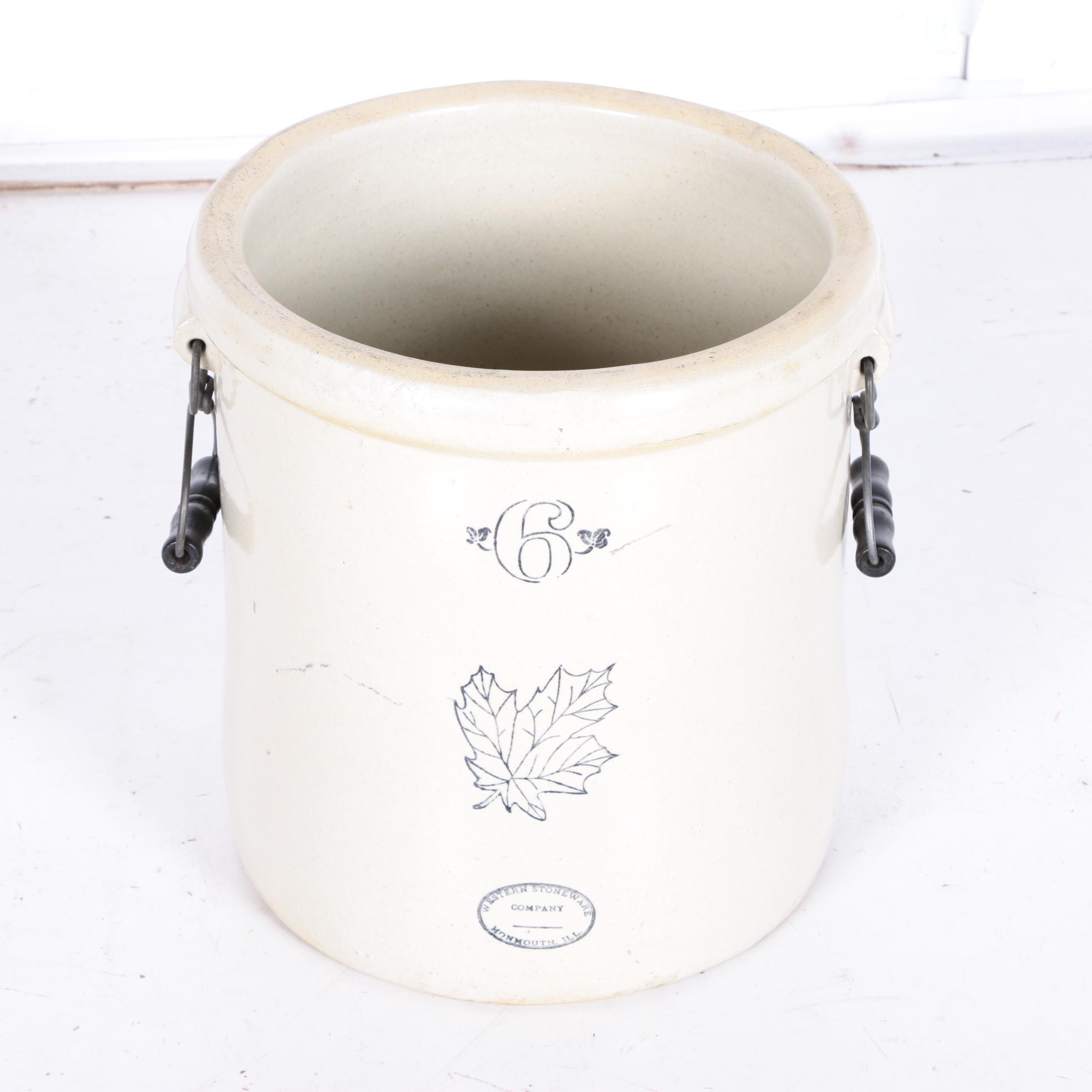 Western Stoneware Crock with Wire Handles