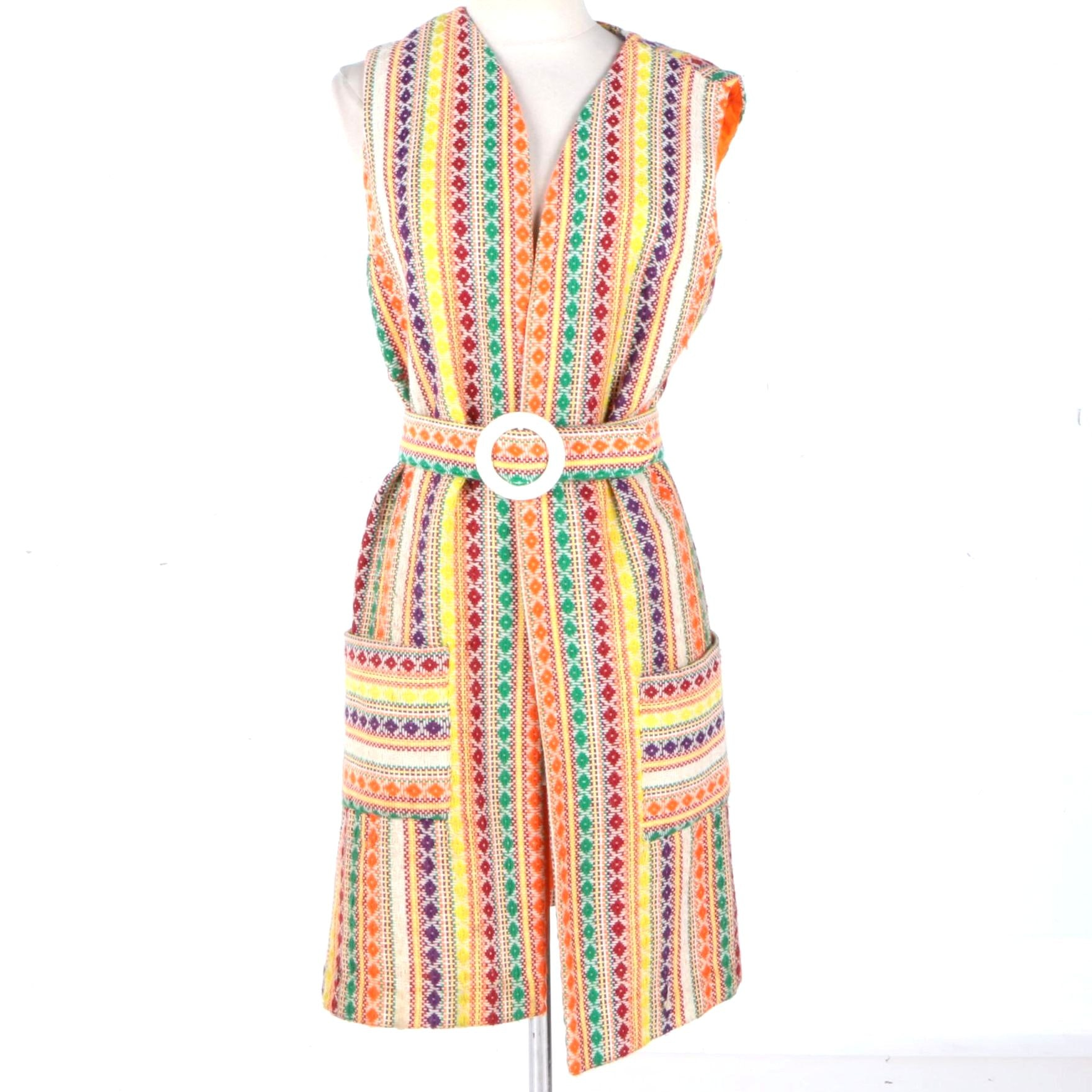Women's Vintage Colorful Woven Vest and Belt