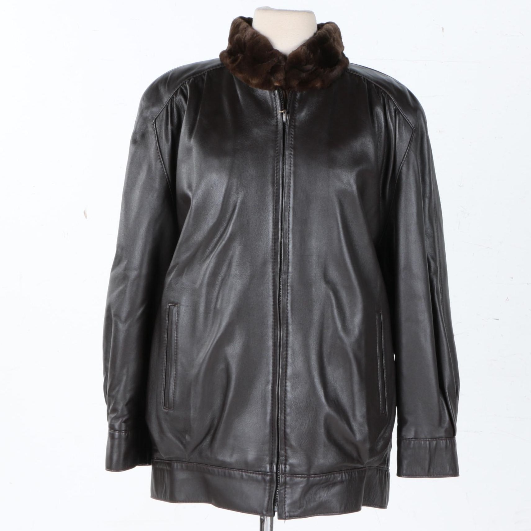 Women's Leather Jacket With a Sheared Beaver Lining