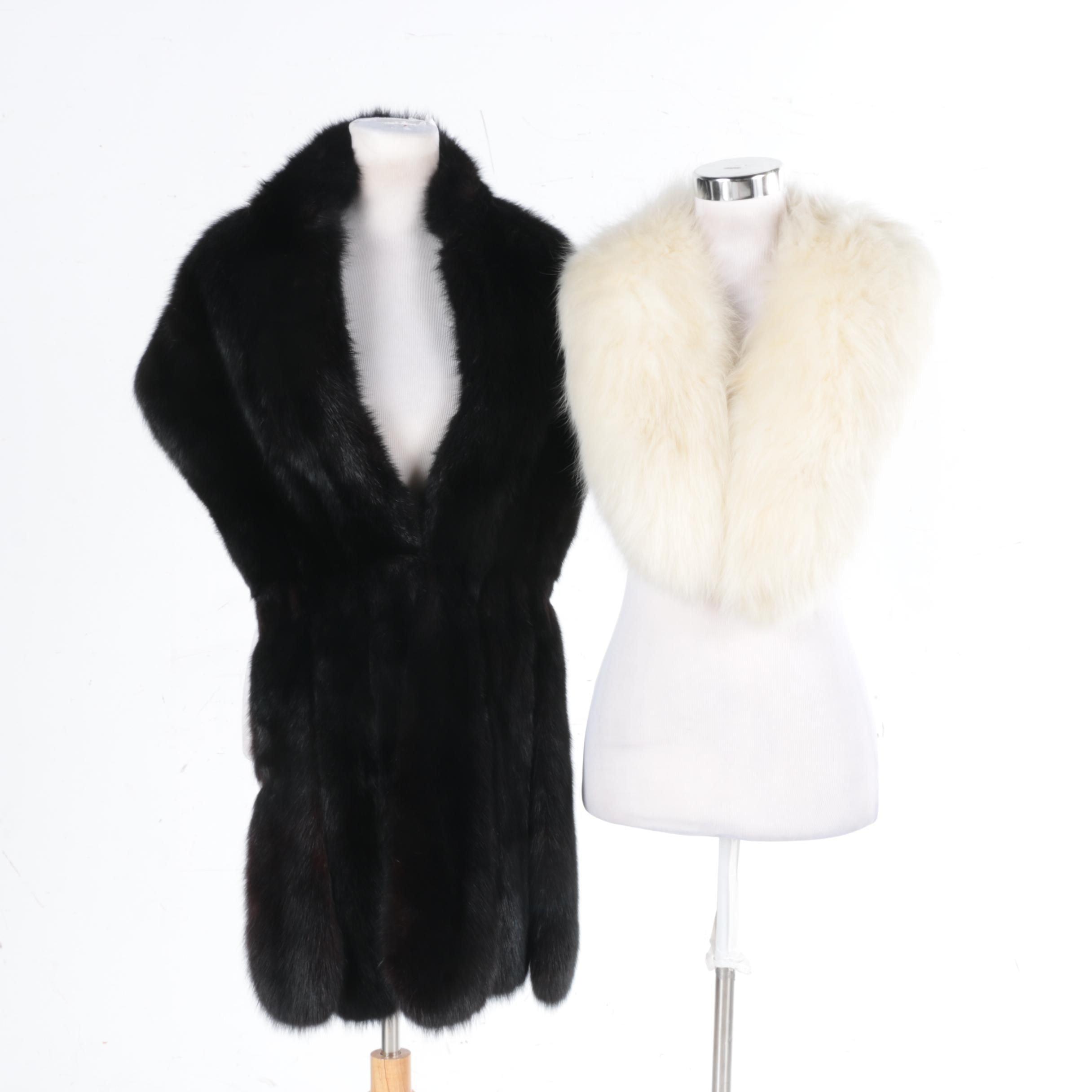 Vintage Fox Fur Collar and Dyed Marten Fur Stole