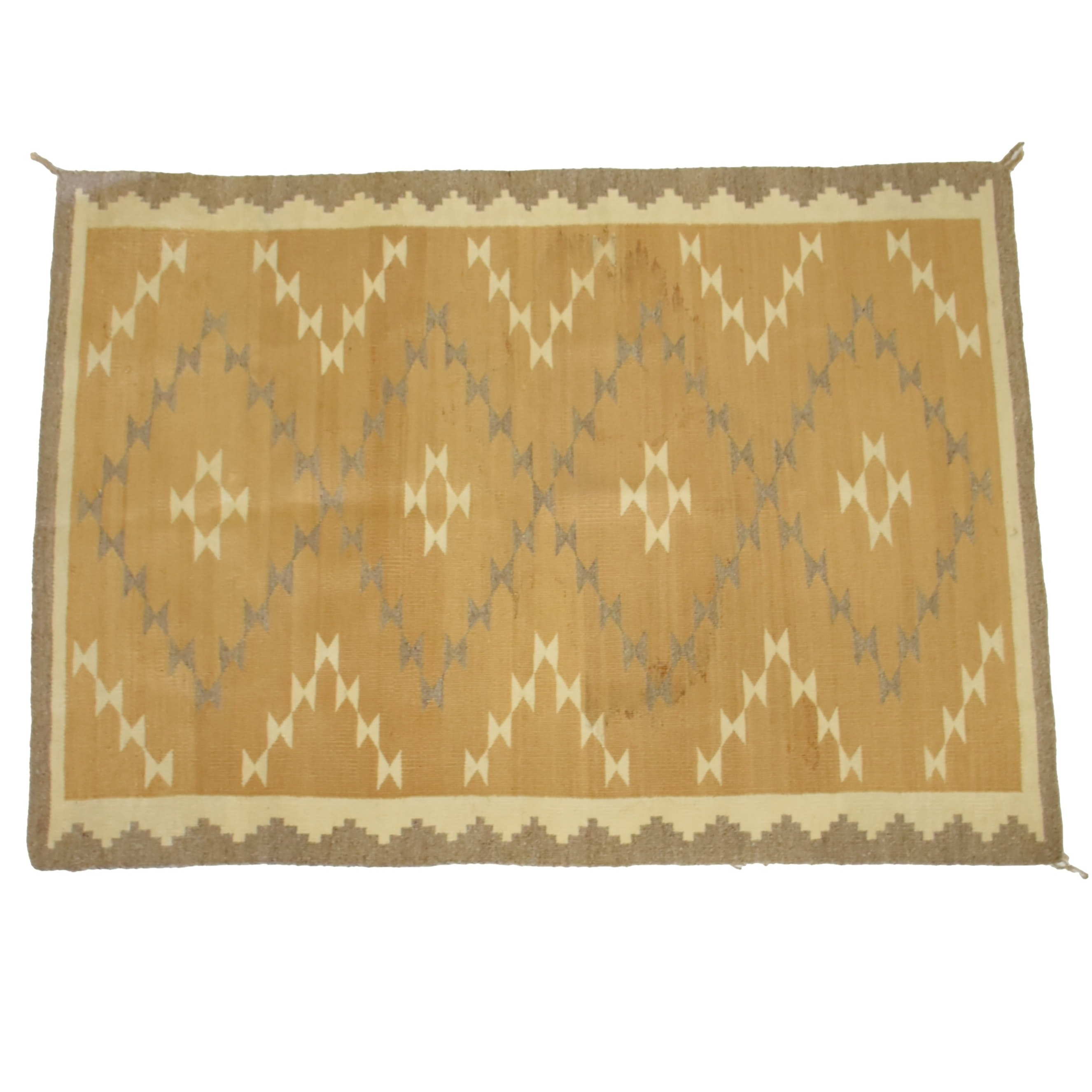 Early 20th Century Navajo Hand Woven Wool Rug in Tan and  Camel