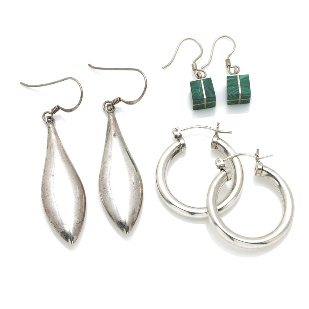 Sterling Silver Earrings Including Malachite