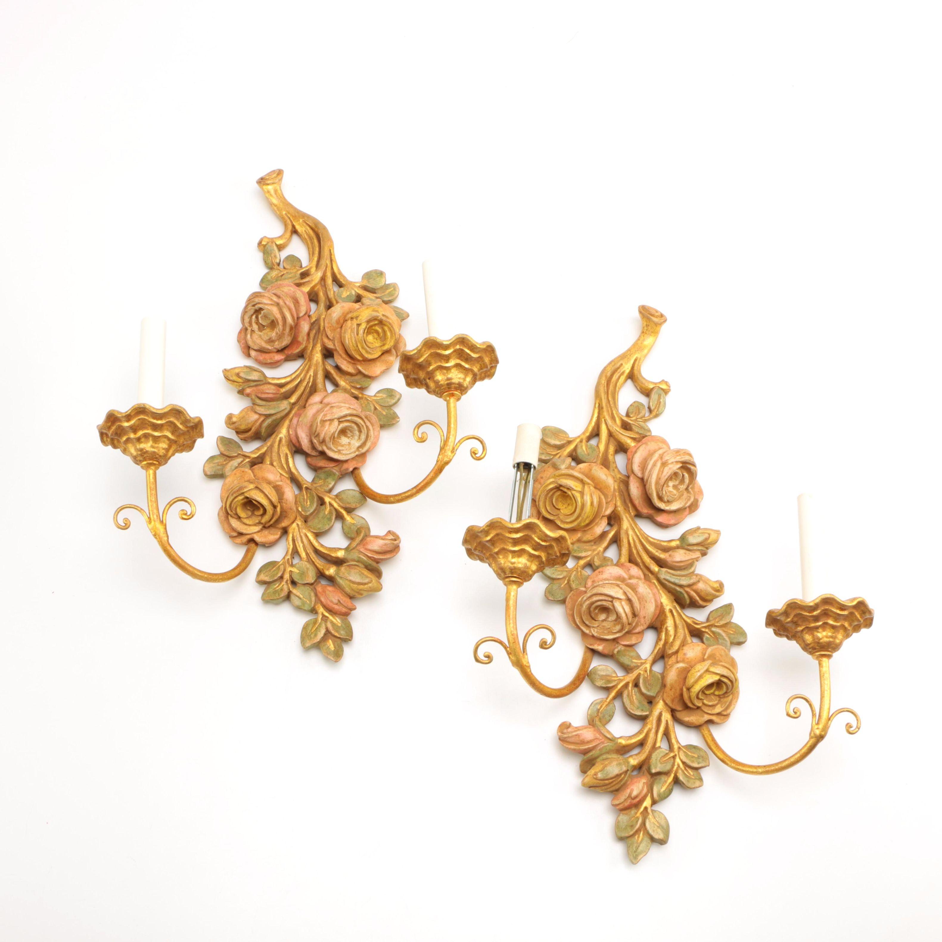 Hollywood Regency Floral Sconces