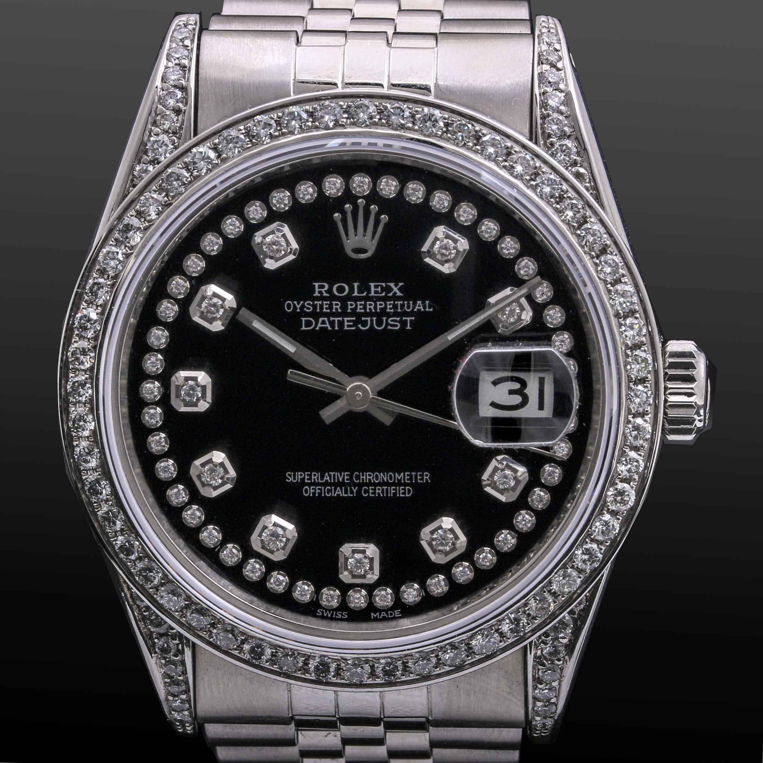 Stainless Steel 1.79 CTW Diamond Rolex Oyster Perpetual Datejust Wristwatch