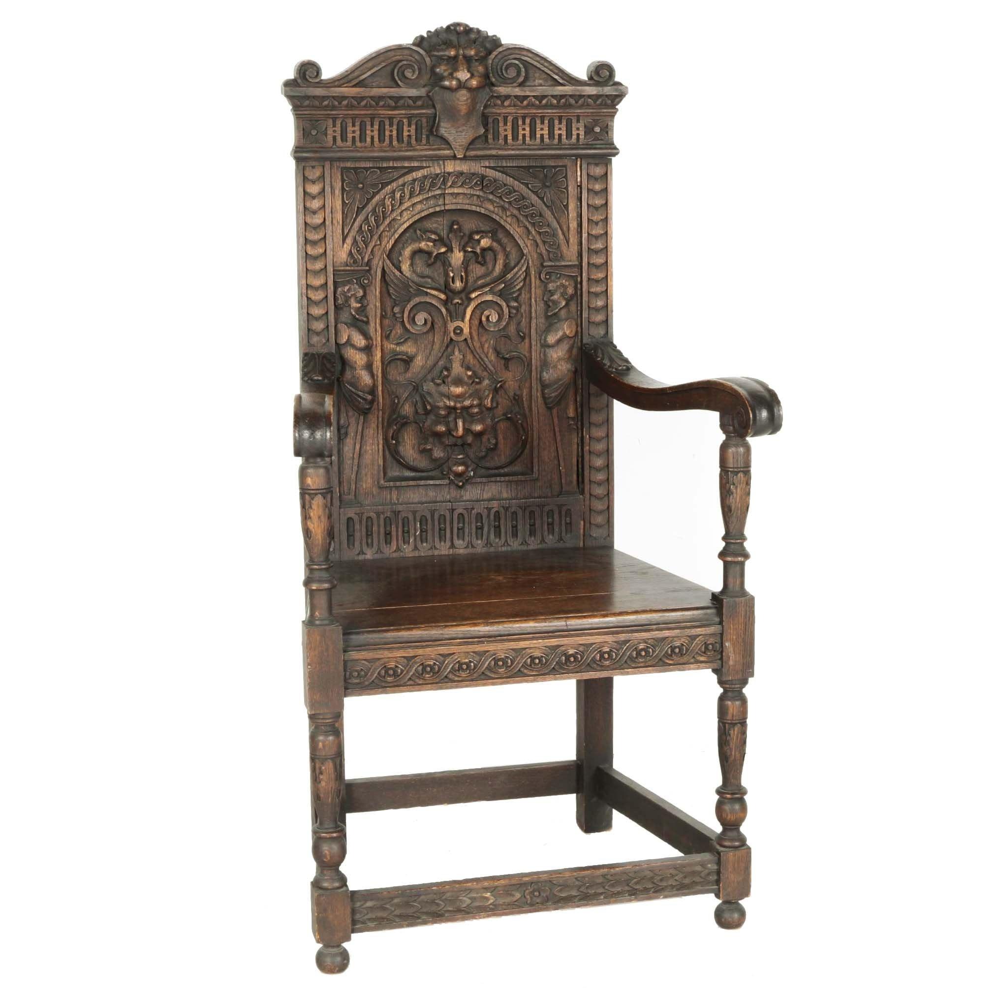 Antique Renaissance Revival Carved Oak Armchair