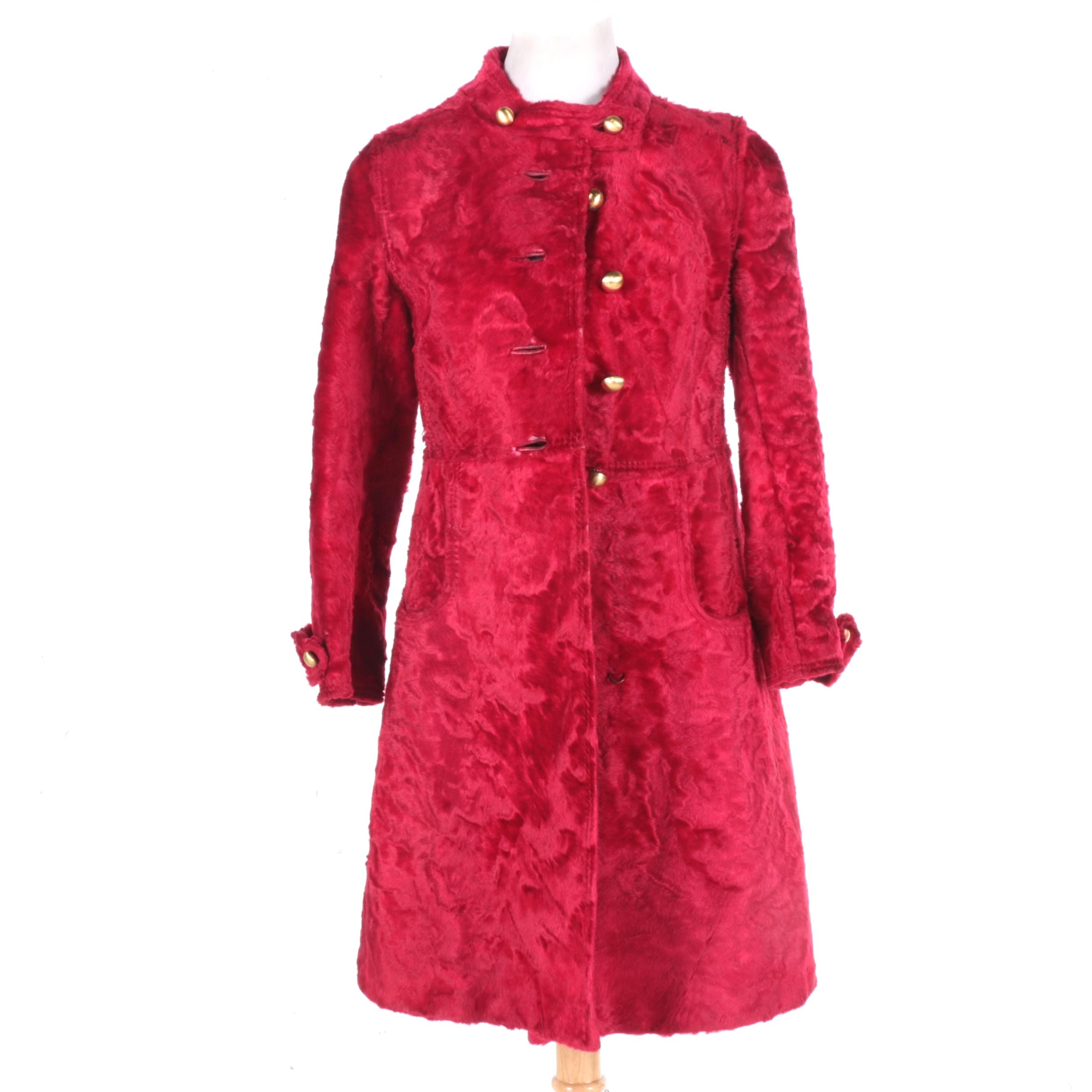 1960s Red Persian Lamb Coat