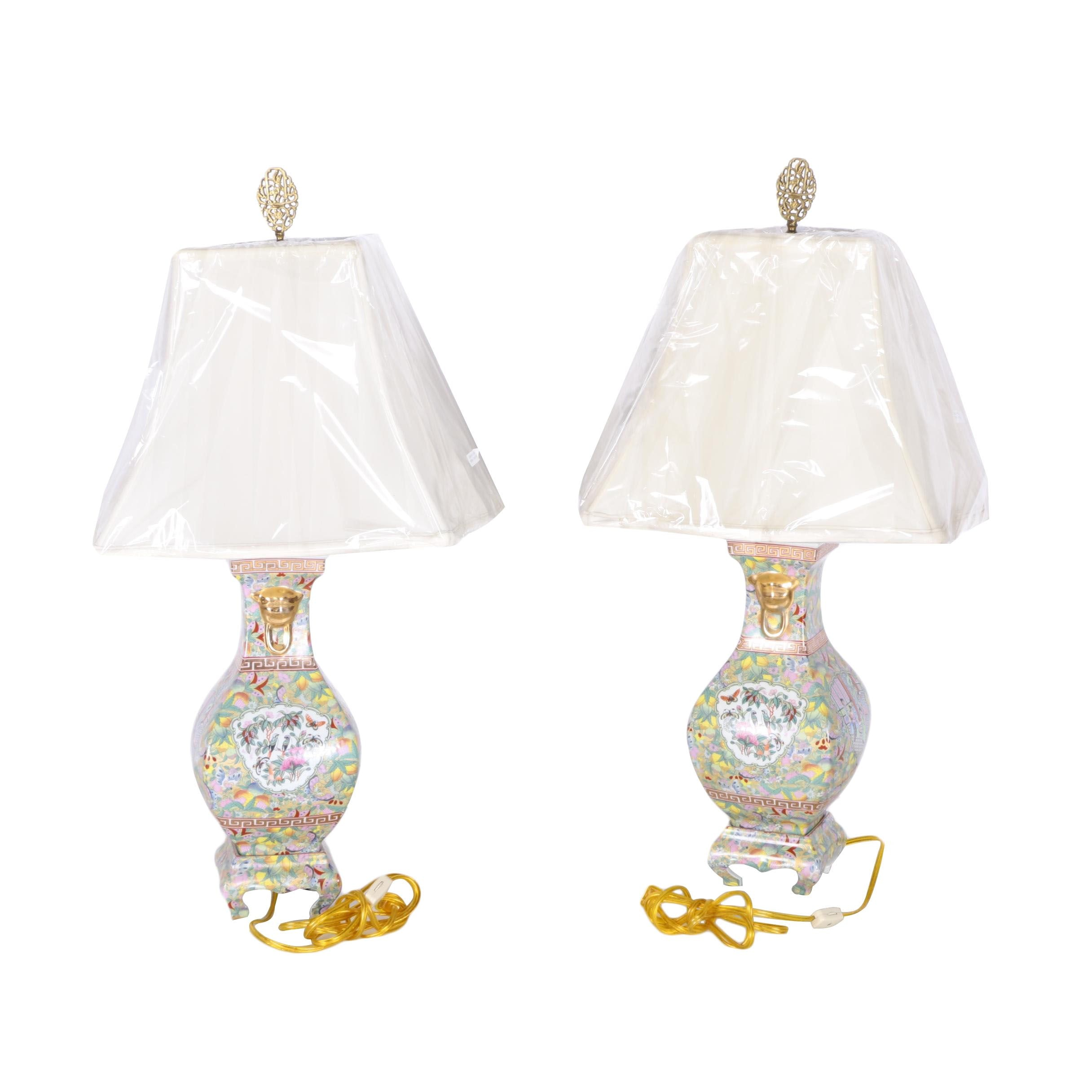 Asian Style Butterfly and Fruit Ceramic Lamps With Abode Shades