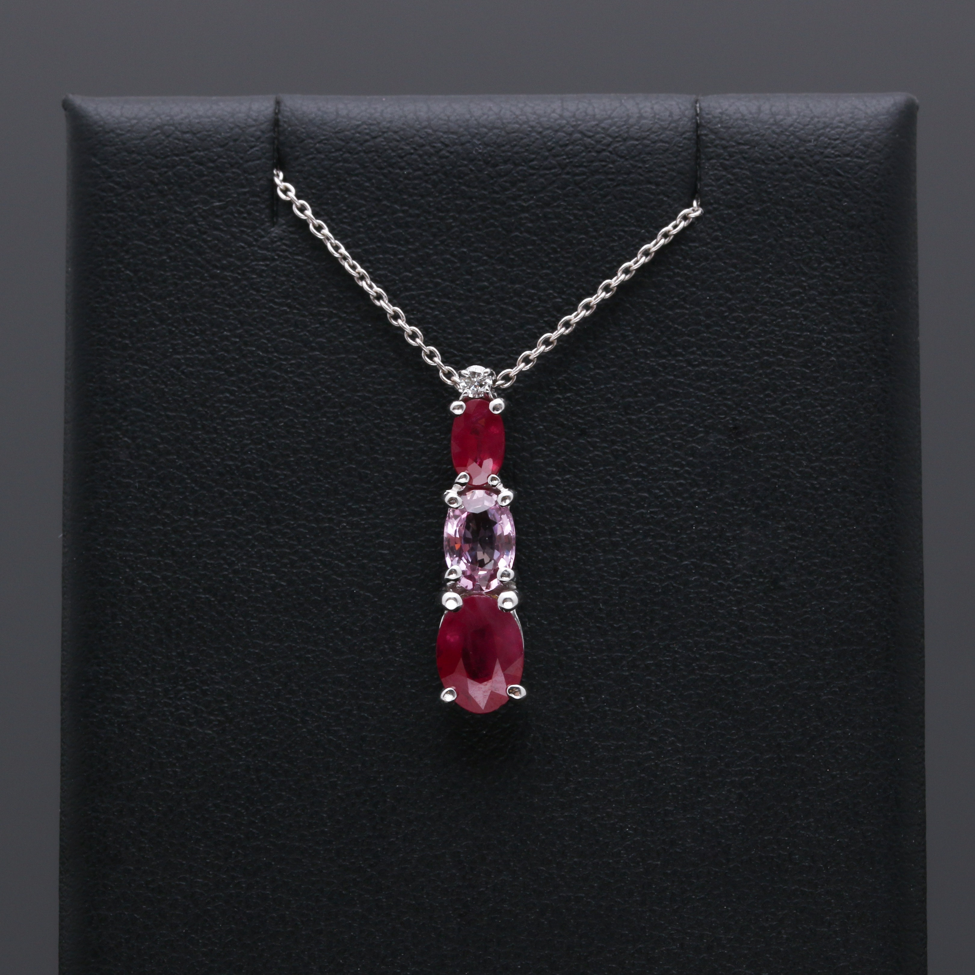 14K White Gold Ruby, Pink Sapphire, and Diamond Necklace