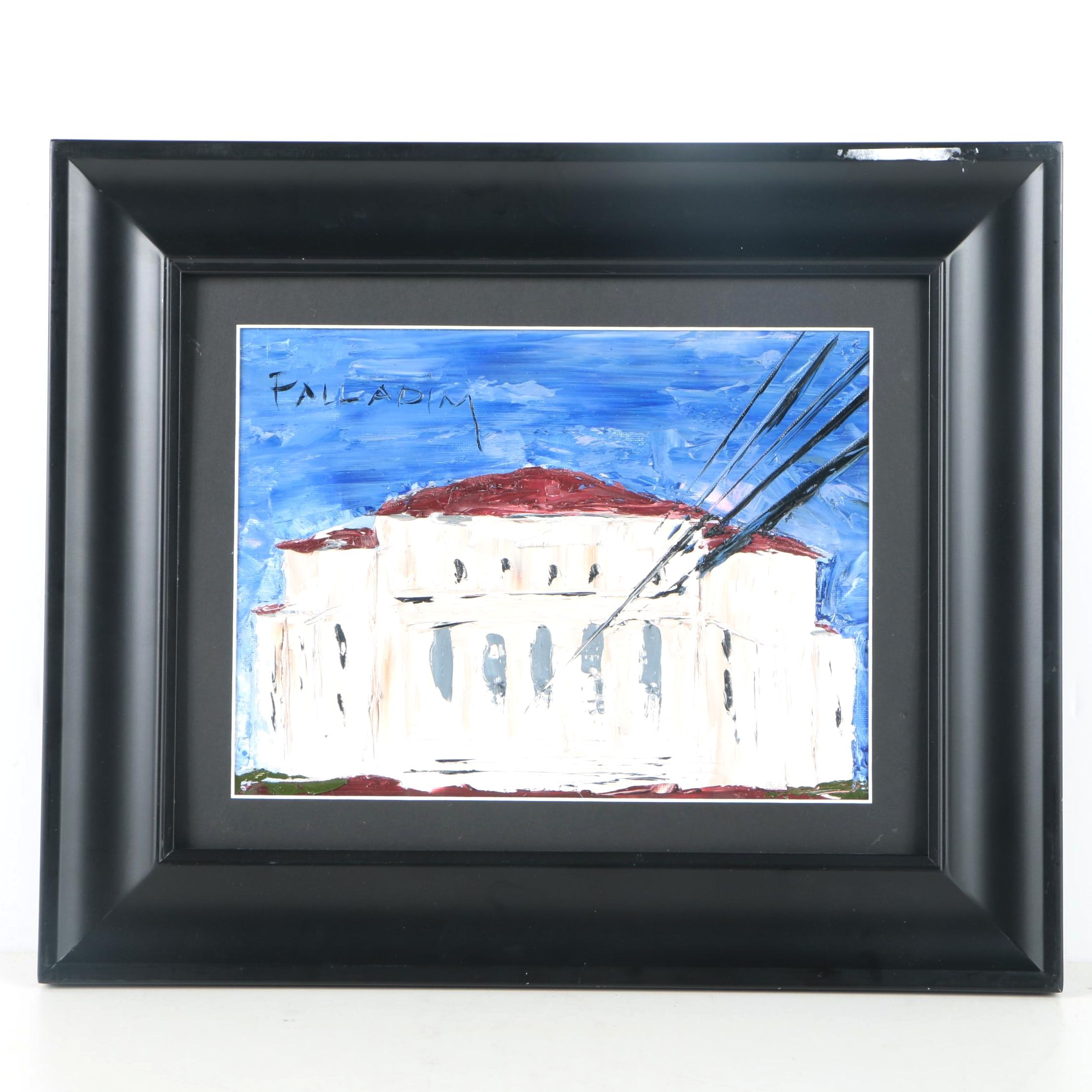 Palladim Oil Painting on Canvas Board of Neoclassical Building