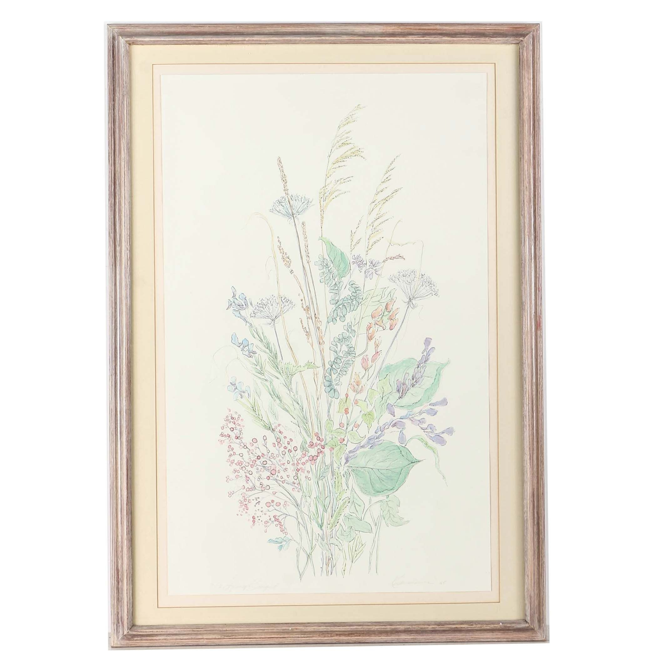 """Kushenbaum Limited Edition Hand Colored Embossed Print """"Spring Bouquet"""""""