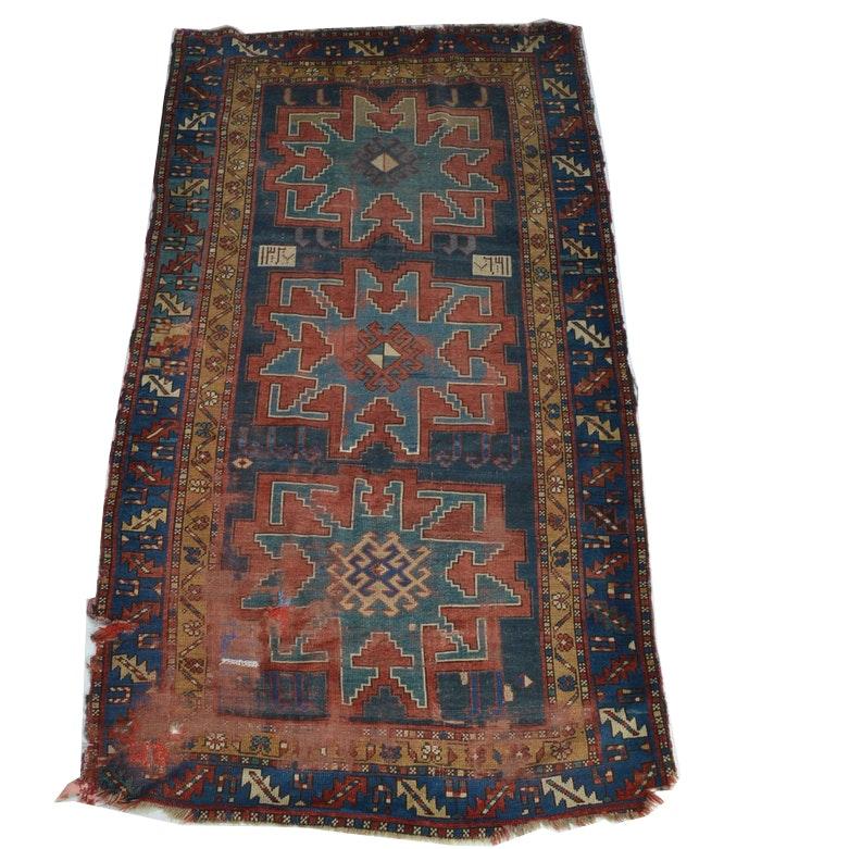 Antique Russian/Caucasian Kazak Hand-Woven Area Rug