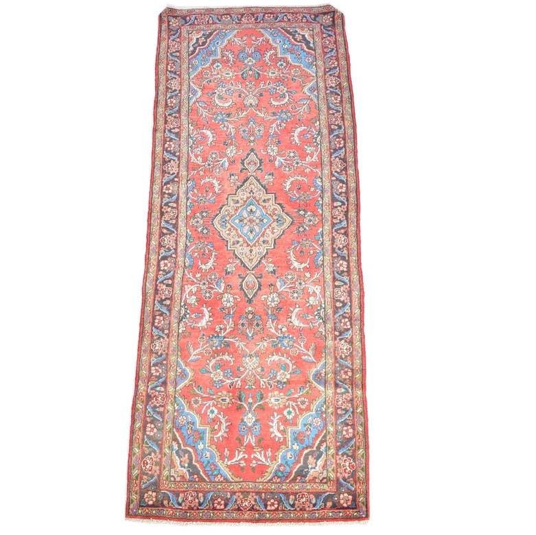 Antique Signed and Dated Hand Knotted Persian Mallayer Sarouk Runner Rug