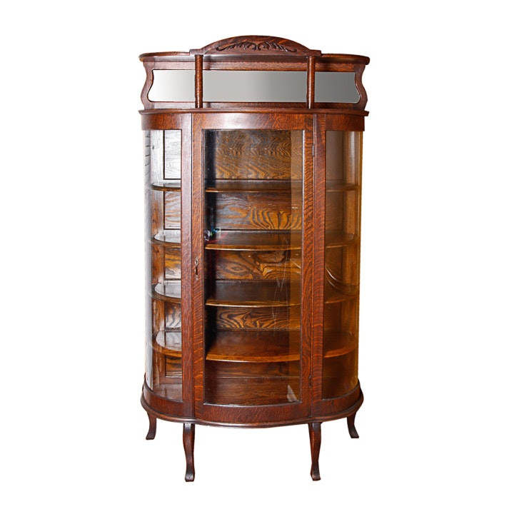 Antique Oak Demilune China Cabinet with Mirrored Gallery