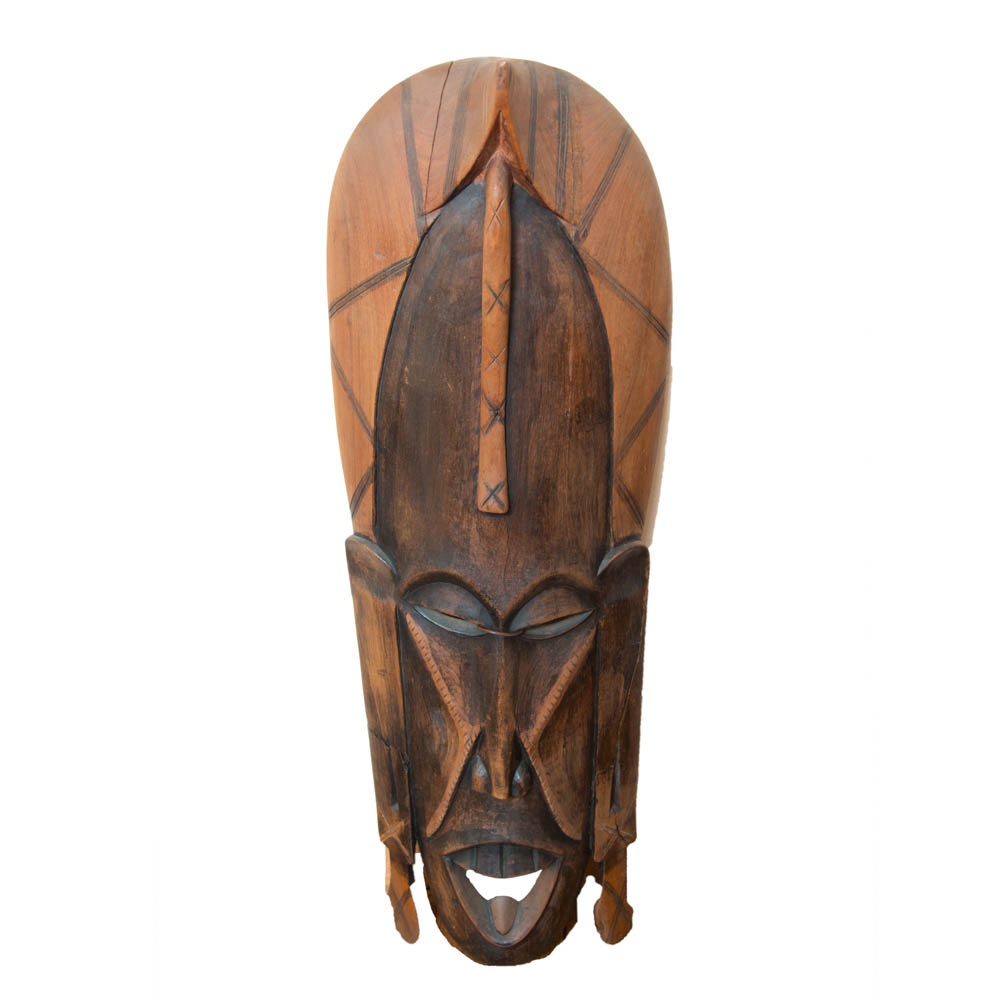 Large Kenyan Hand Carved Hardwood Wall Mask