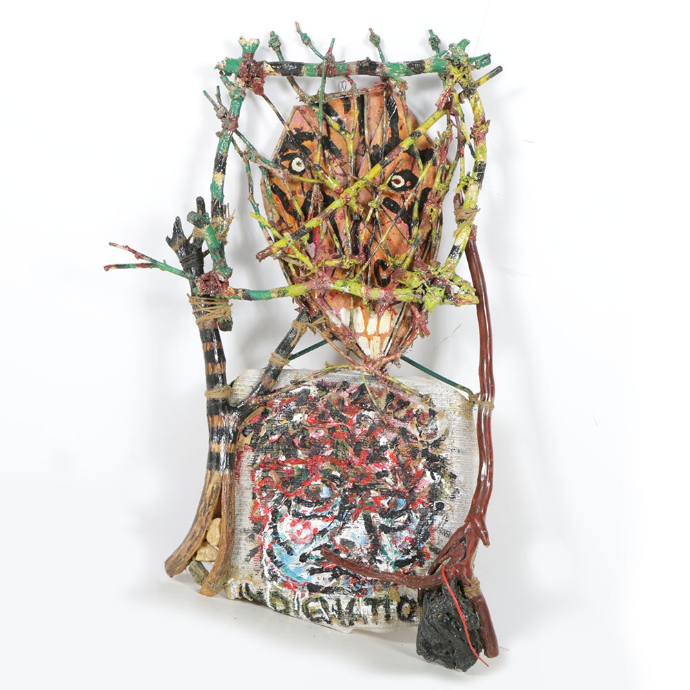 "Frank Kowing Mixed Media Sculpture ""Indignation"""