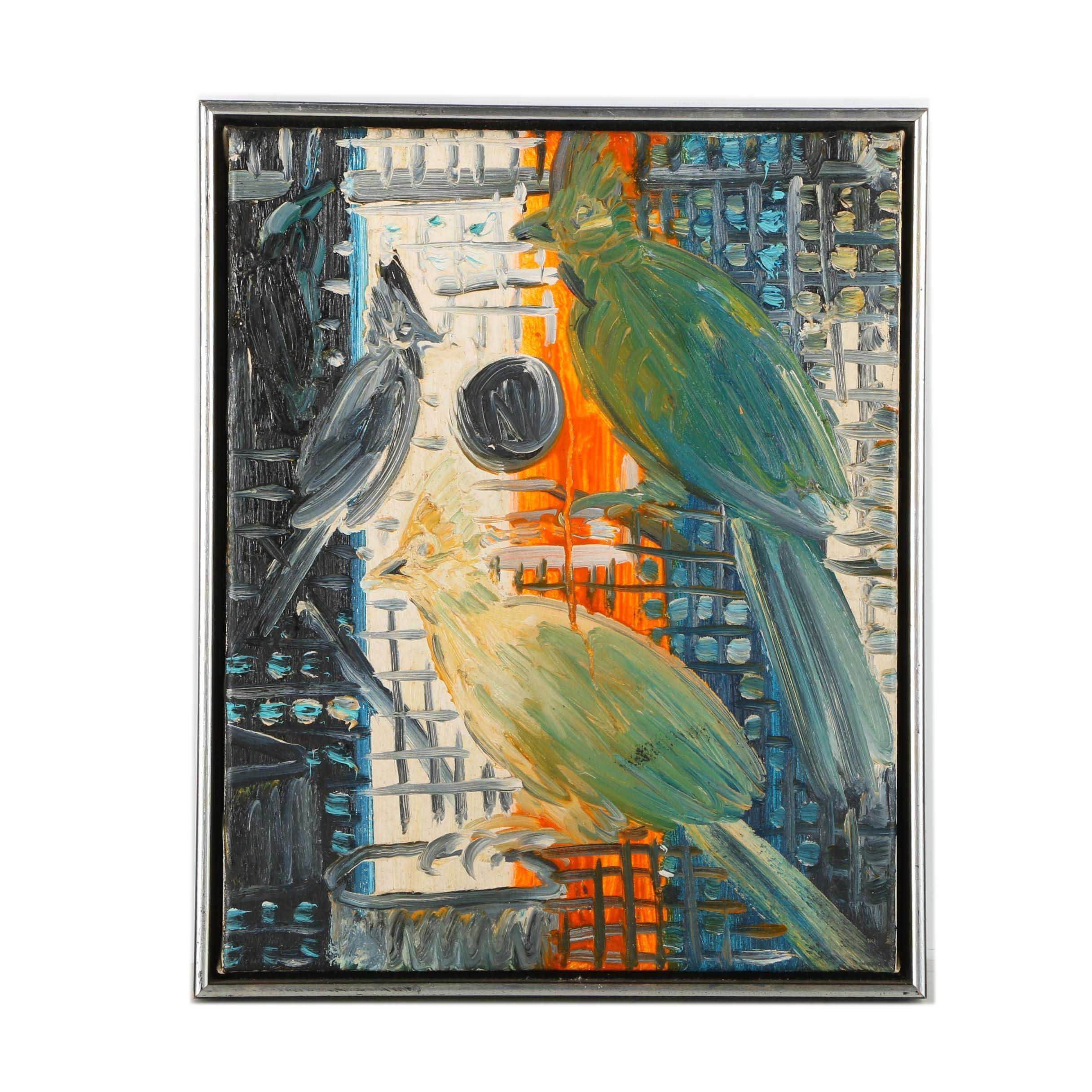 Hunt Slonem Original 1988 Oil on Canvas of Three Birds in a Cage