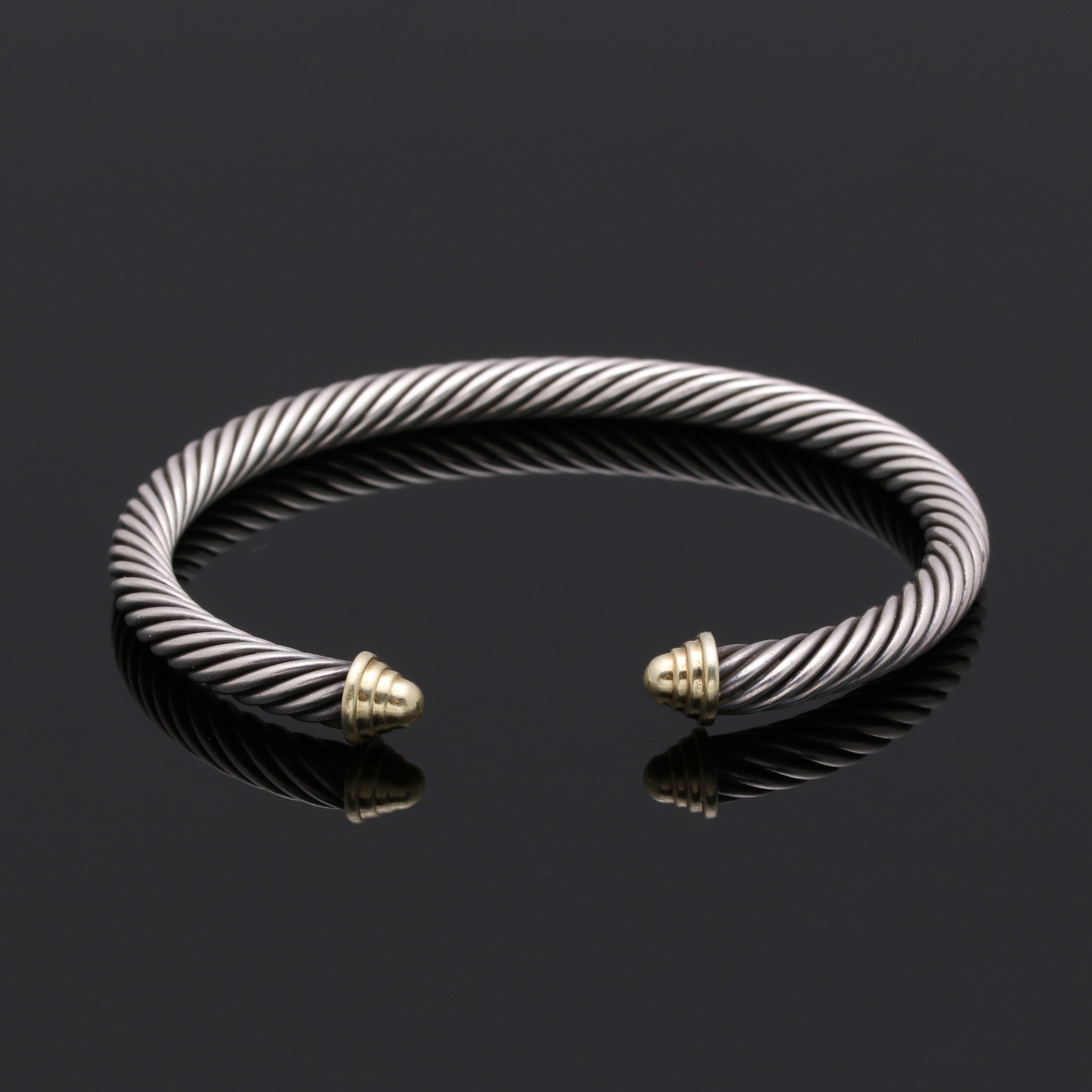 "David Yurman ""Classic Cable"" Sterling Silver and 14K Gold Cuff"