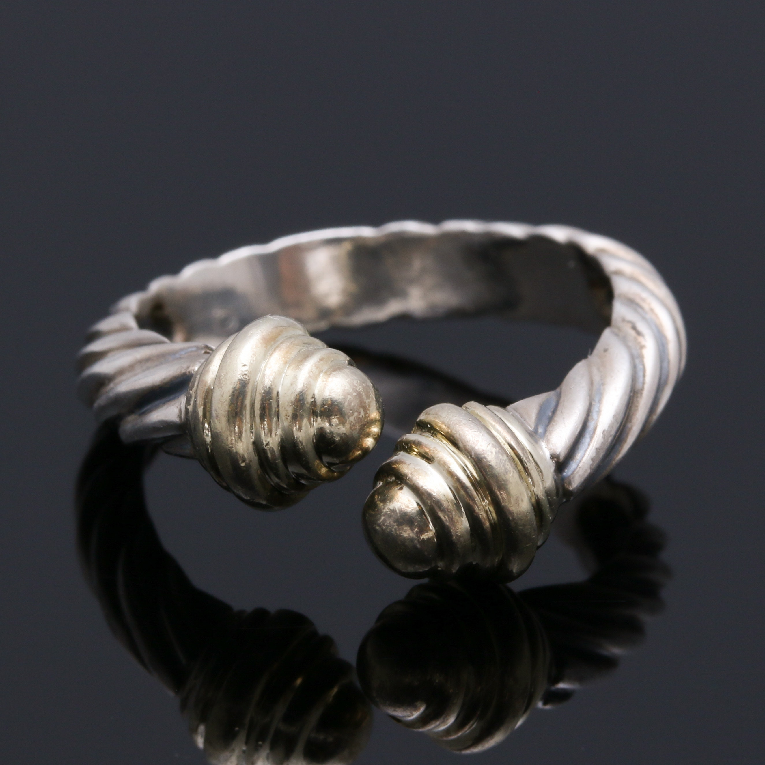 "David Yurman ""Classic Cable"" Sterling Silver and 14K Gold Ring"
