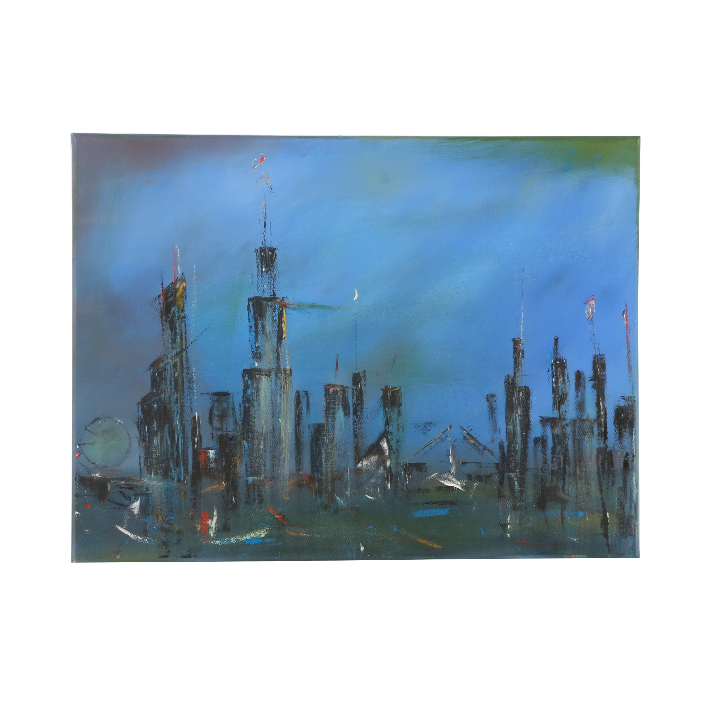 "Randy Sorrell Contemporary Cityscape Oil Painting on Canvas ""Chi Town"""