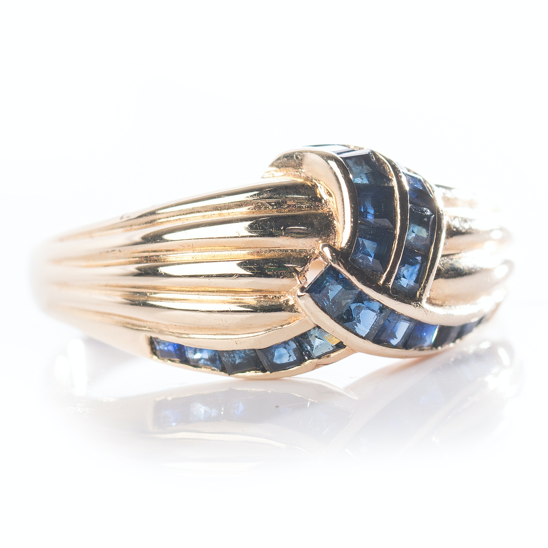 14K Yellow Gold Channel Set Sapphire Ring