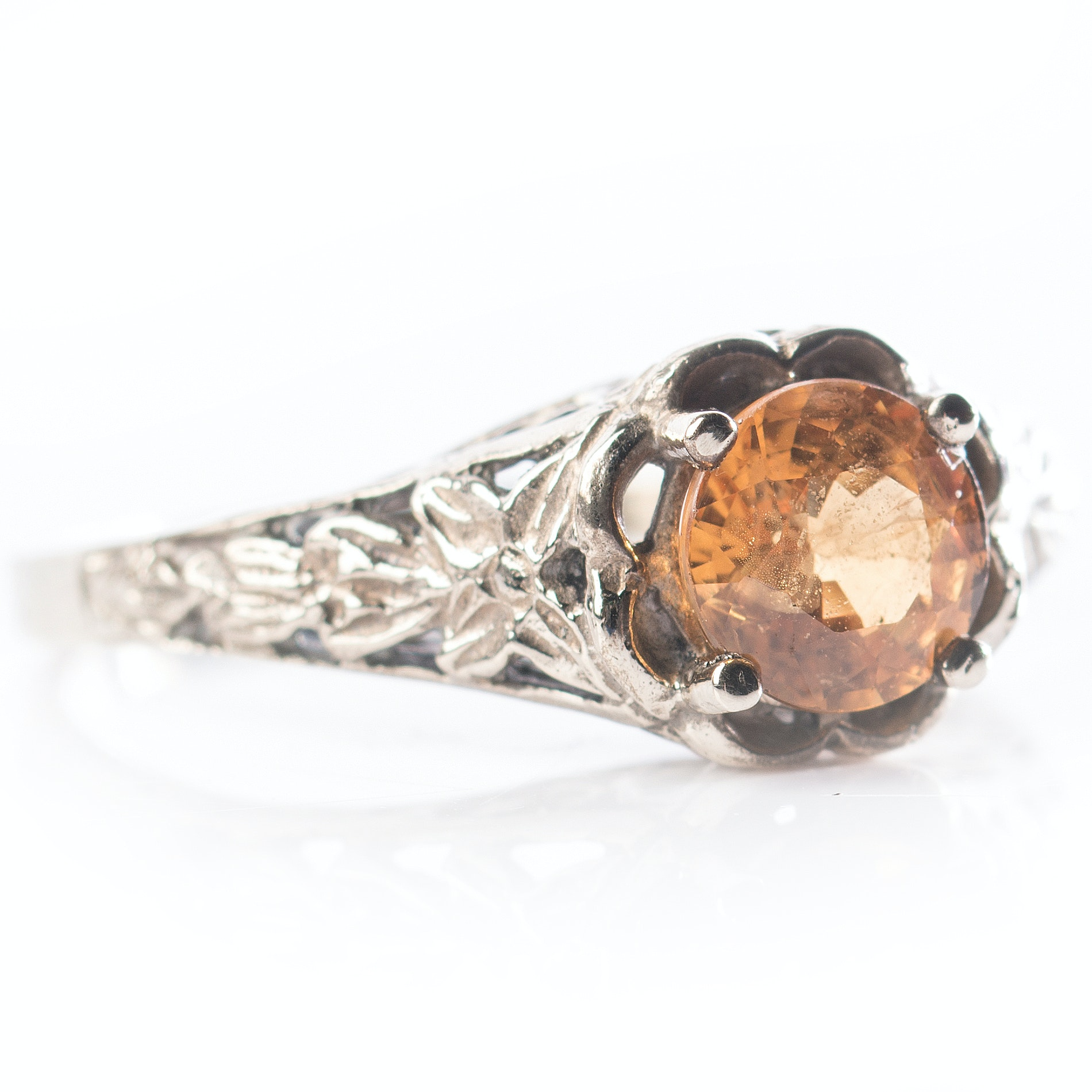 14K White Gold Orange Sapphire Ring