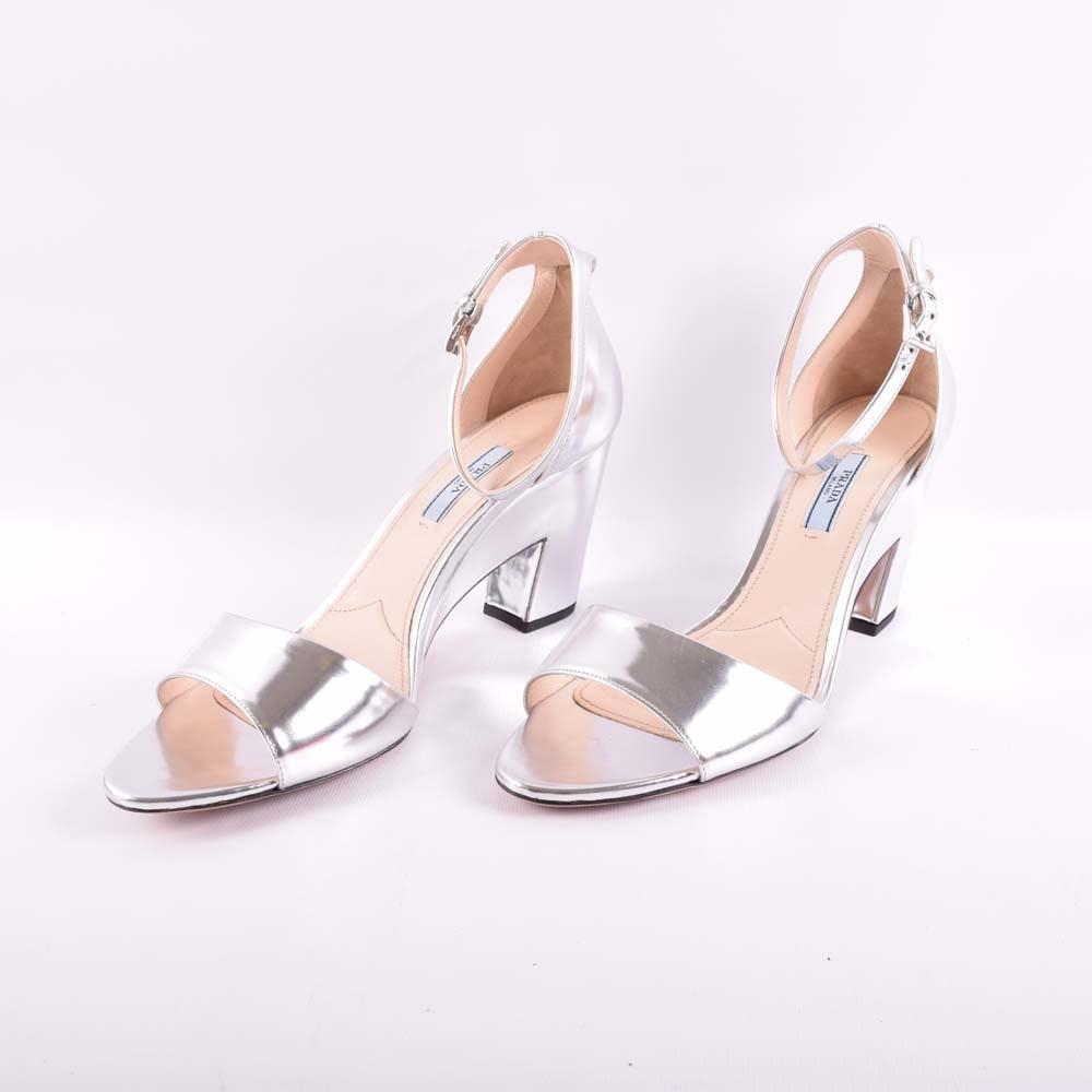 Women's Prada Metallic Silver Heels