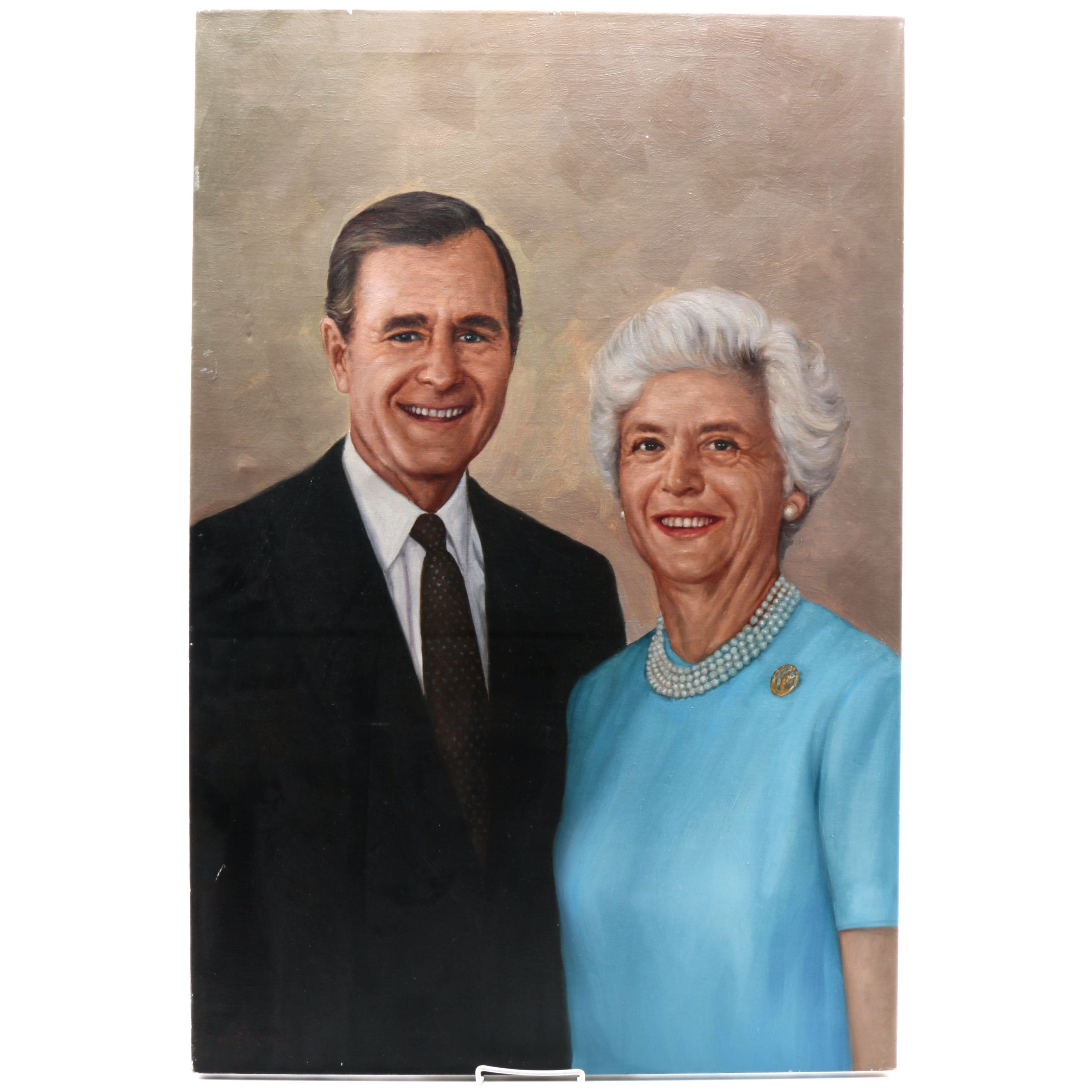 Oil Portrait on Canvas of President George Herbert Walker Bush and First Lady Barbara Bush