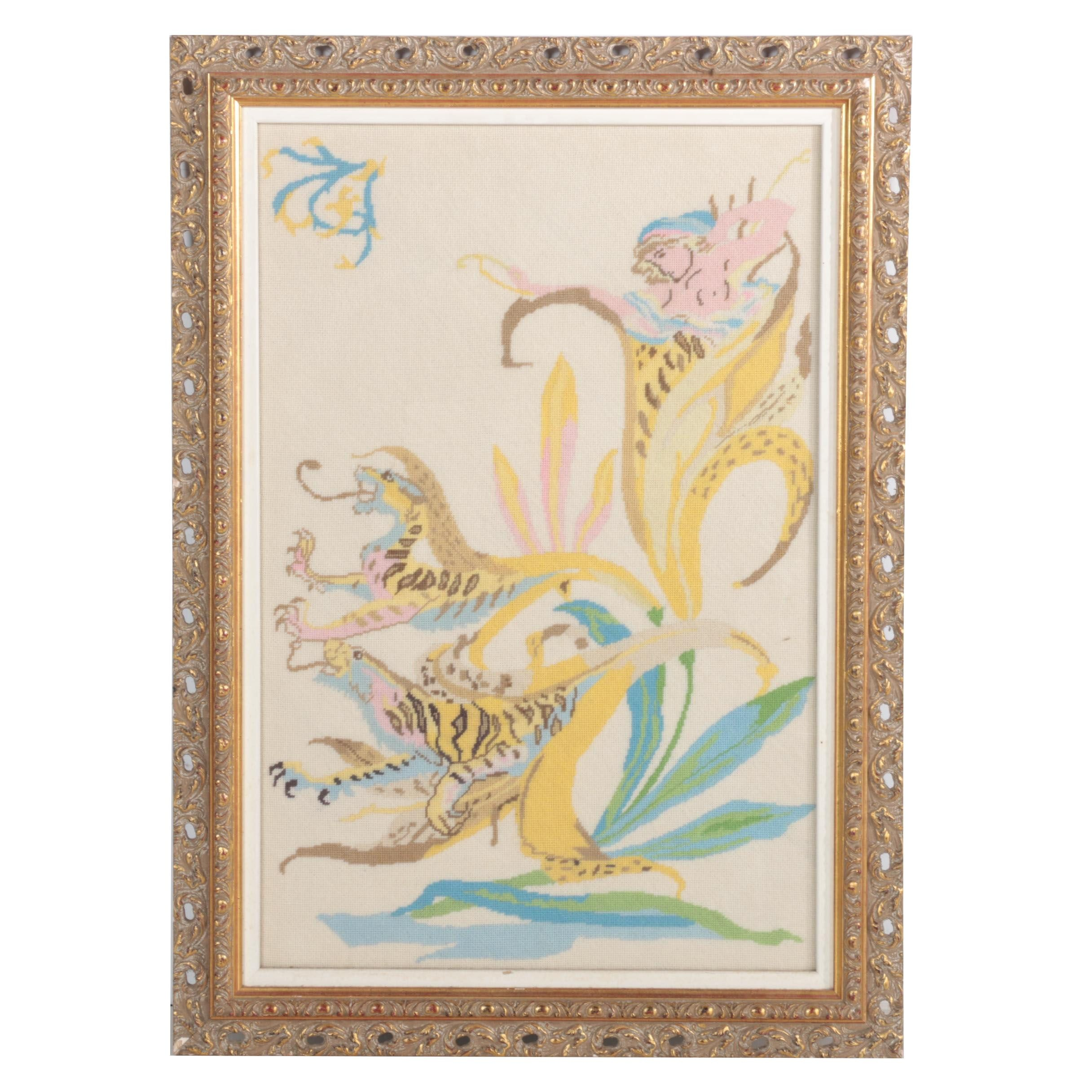 Framed Chinese-Style Needlepoint of Dragons, Chimera, and Lillies