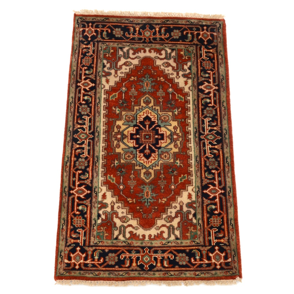 Indo-Heriz Hand-Knotted Wool on Cotton Area Rug