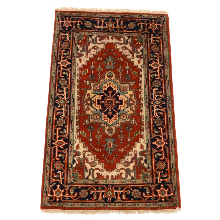 Hand Knotted Indo Persian Obeetee Wool Area Rug Ebth: Indo-Heriz Hand-Knotted Wool On Cotton Area Rug