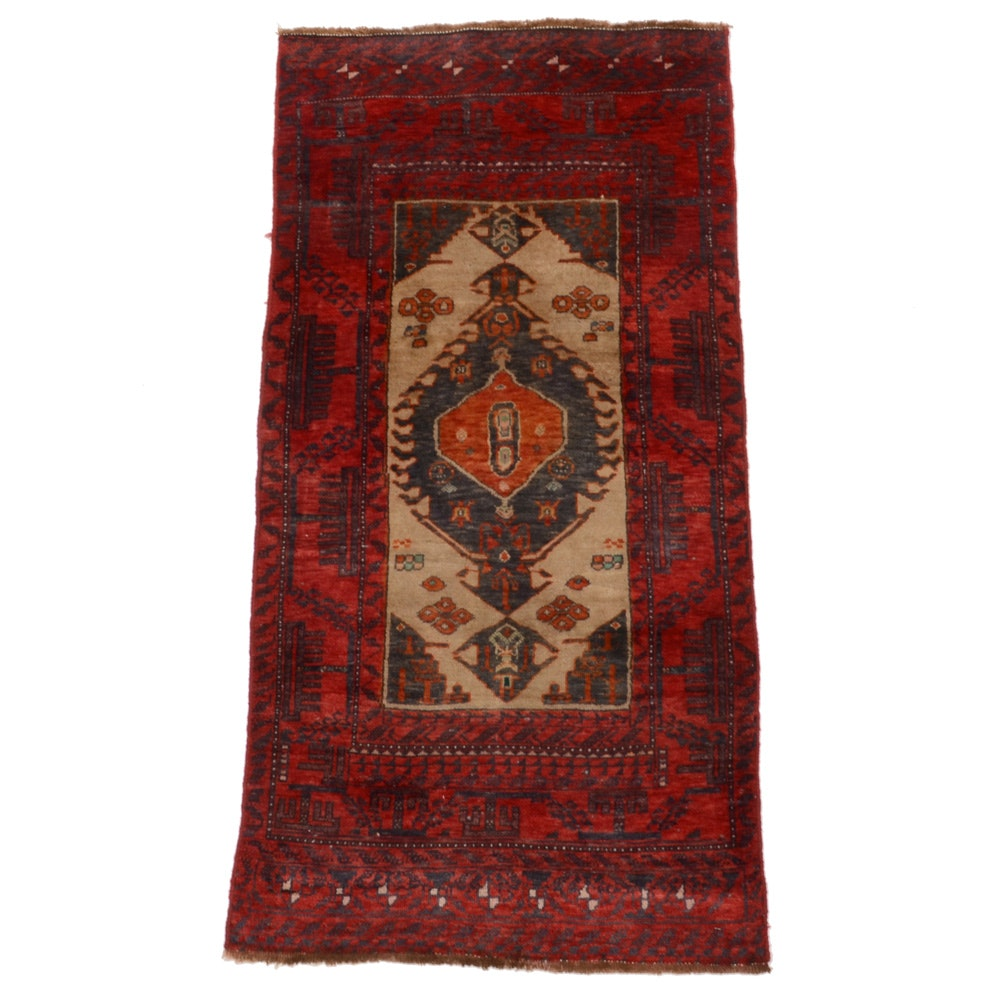 Unique Persian Hand-Knotted Baluch Wool Area Rug
