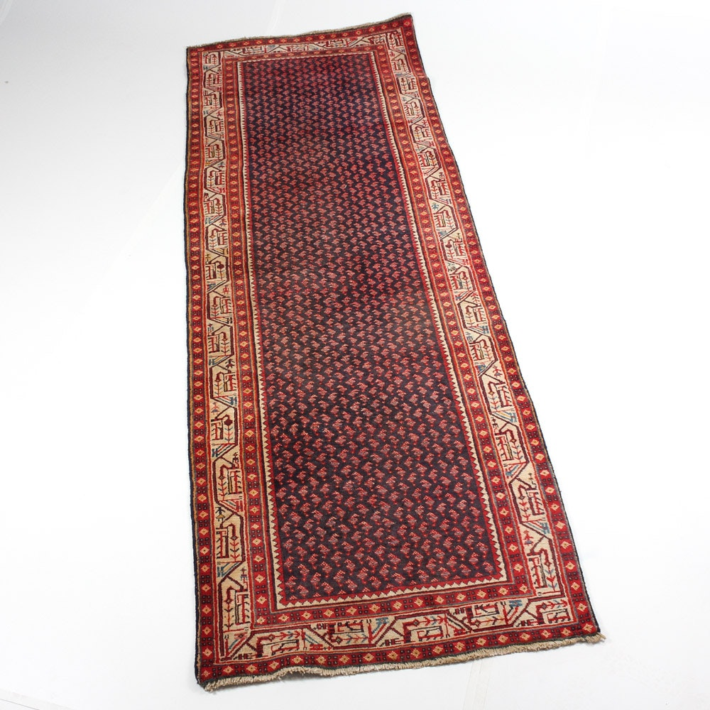 Hand-Knotted Semi-Antique Persian Boteh Mir-A-Boteh Seraband Rug